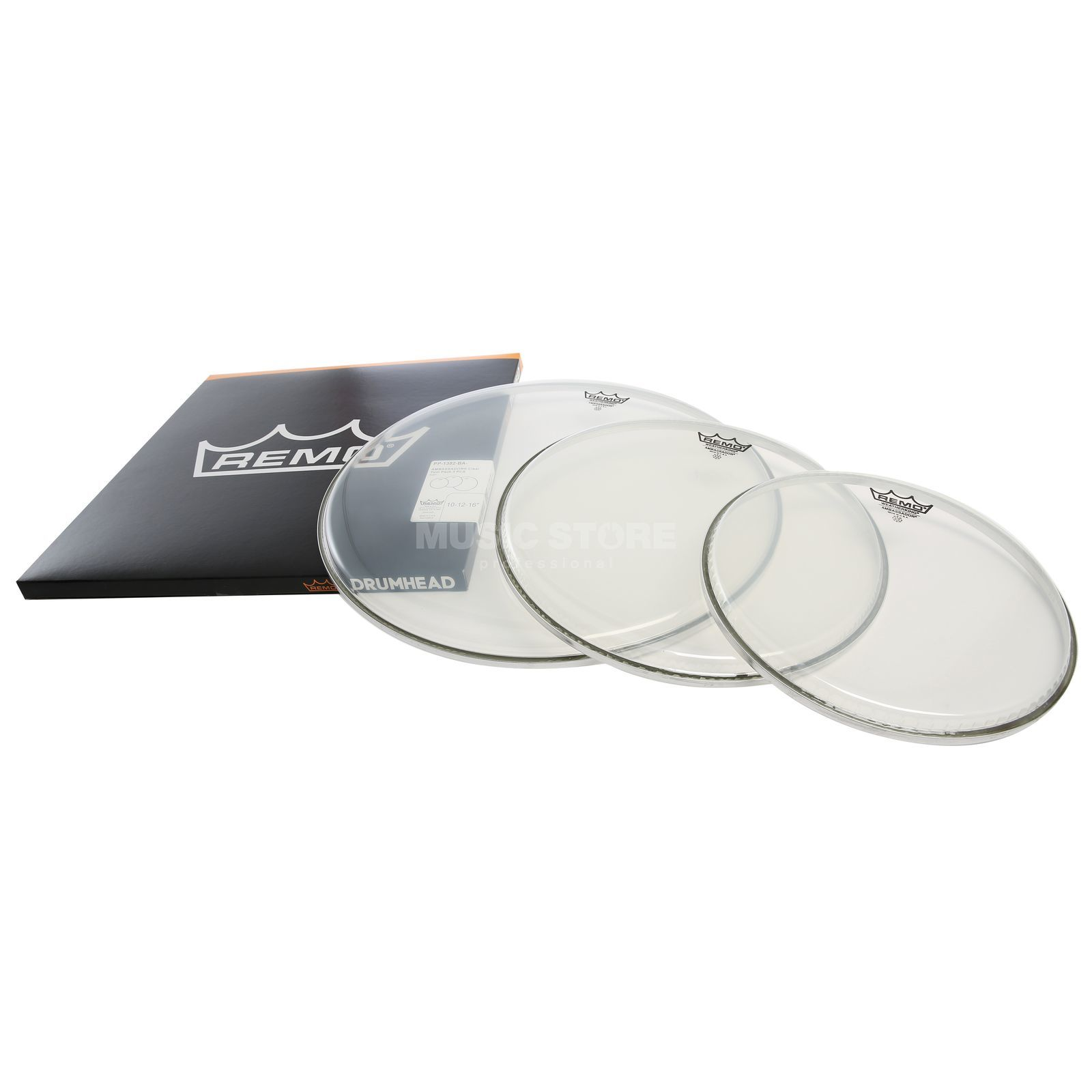 "Remo Drum Head Pack Ambassador, Clear, Rock: 10"",12"",16"" Immagine prodotto"