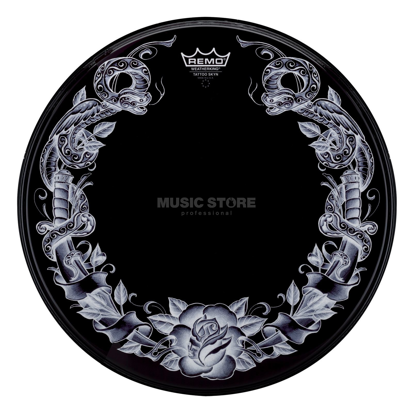 "Remo Tattoo Powerstroke 3, 22"", Serpentrose, black Produktbild"