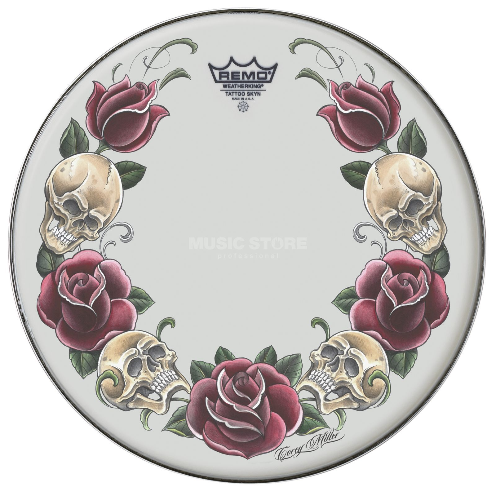 "Remo Tattoo Skyn 14"", Rock and Roses Product Image"