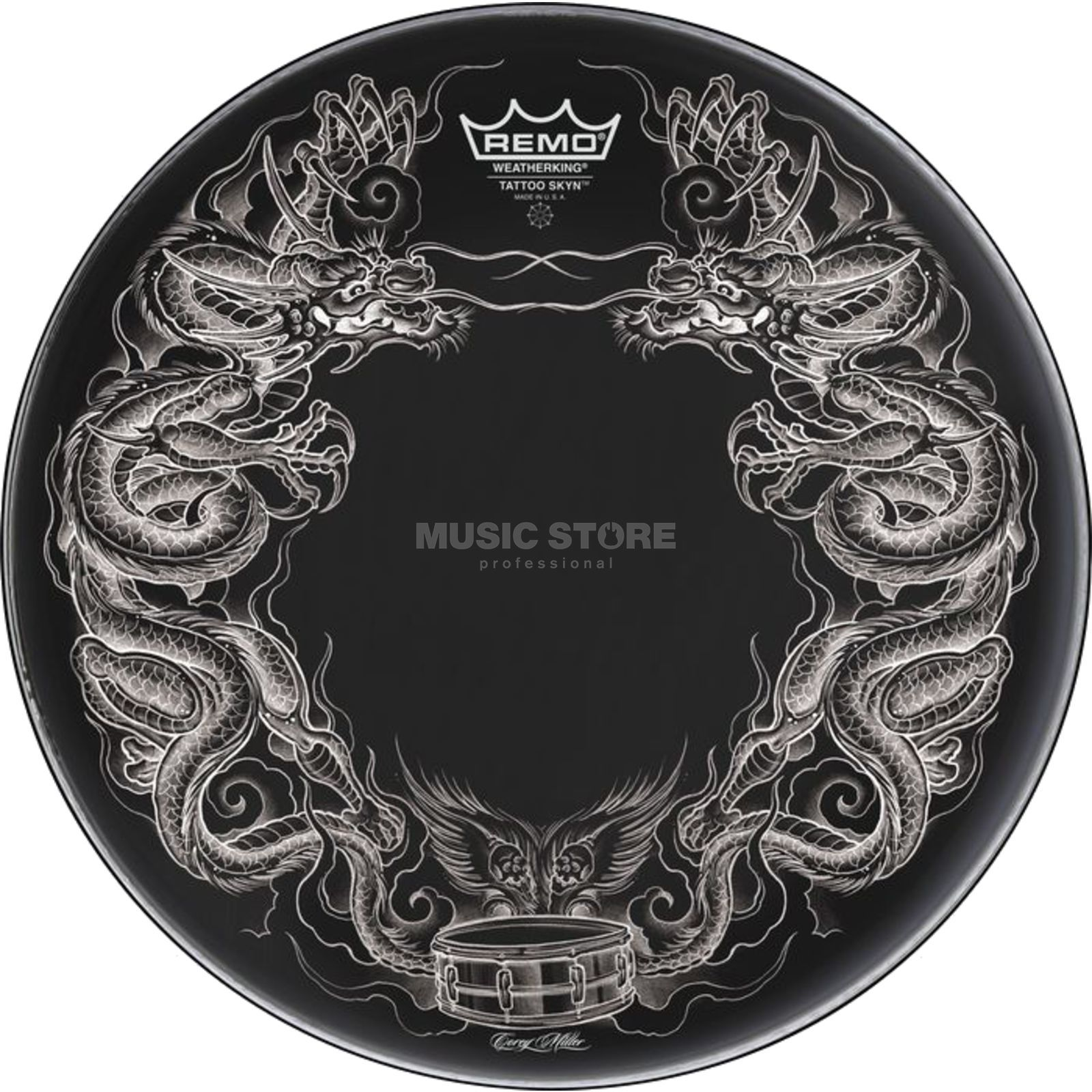 "Remo Tattoo Skyn 22"", Dragon Skyn on black Produktbillede"