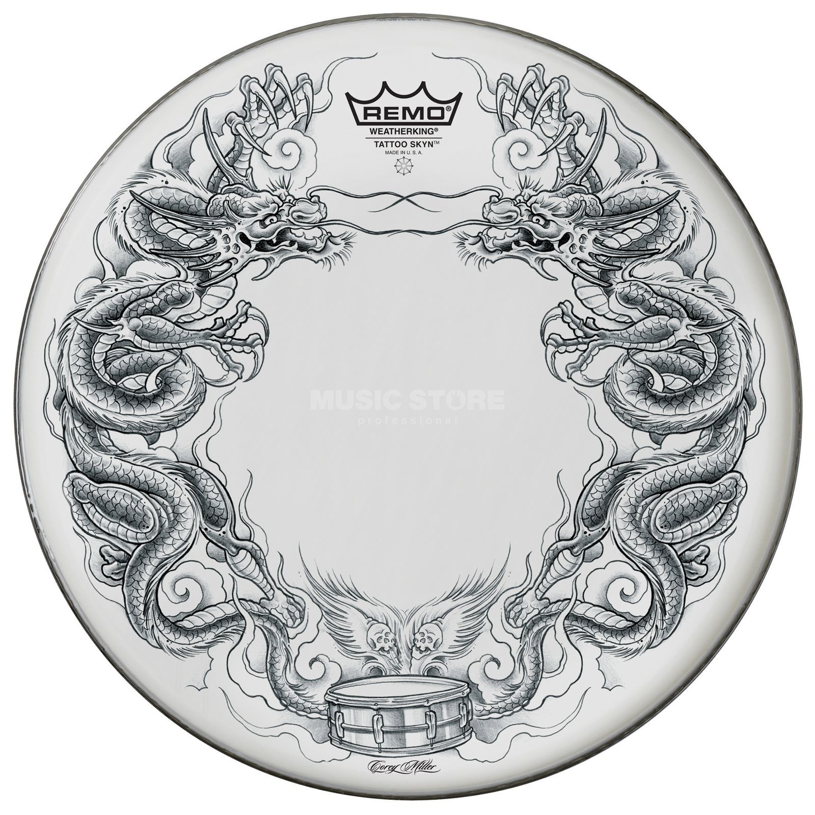 "Remo Tattoo Skyn 22"", Dragon Skyn on white Produktbillede"