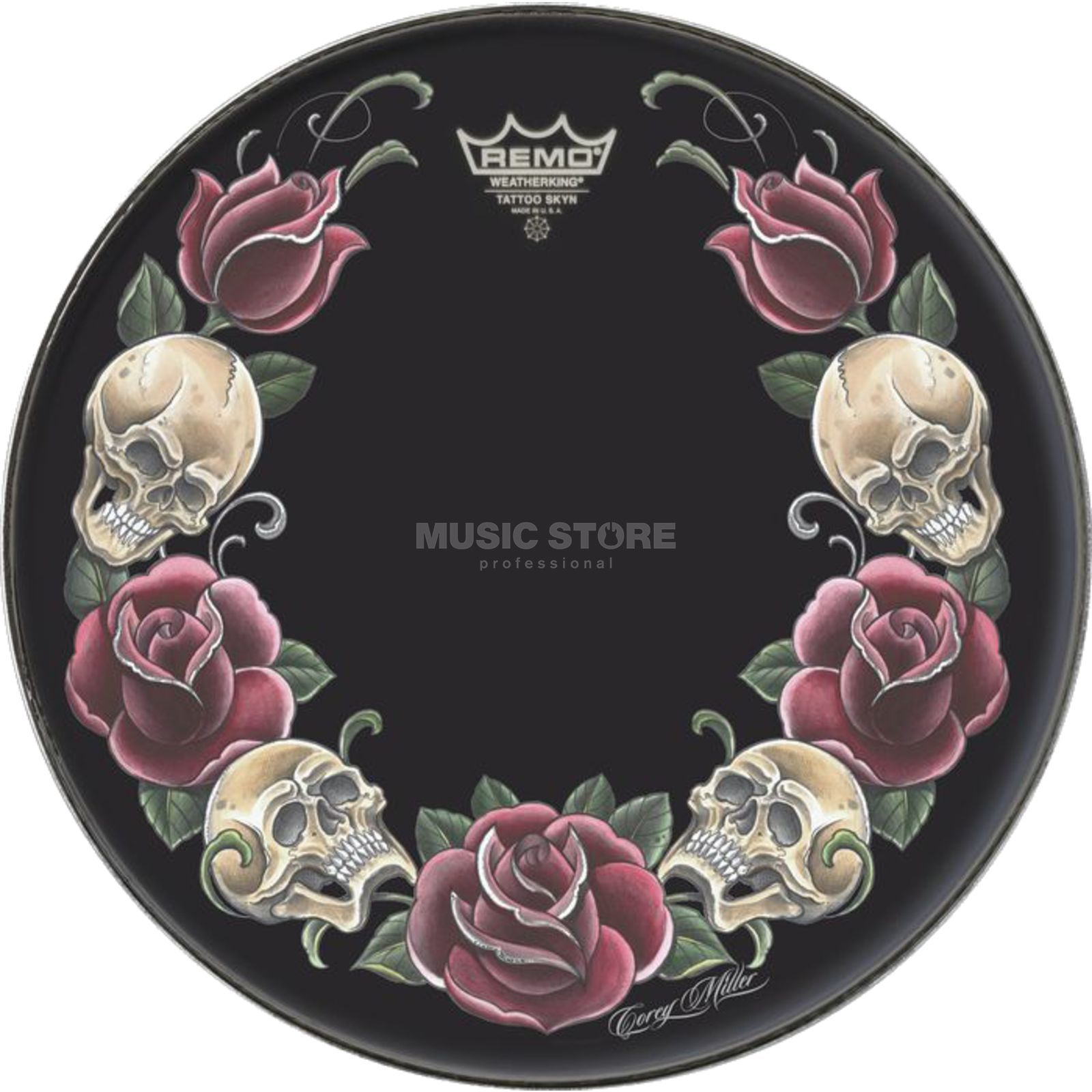"Remo Tattoo Skyn 22"", Rock and Roses on black Produktbillede"