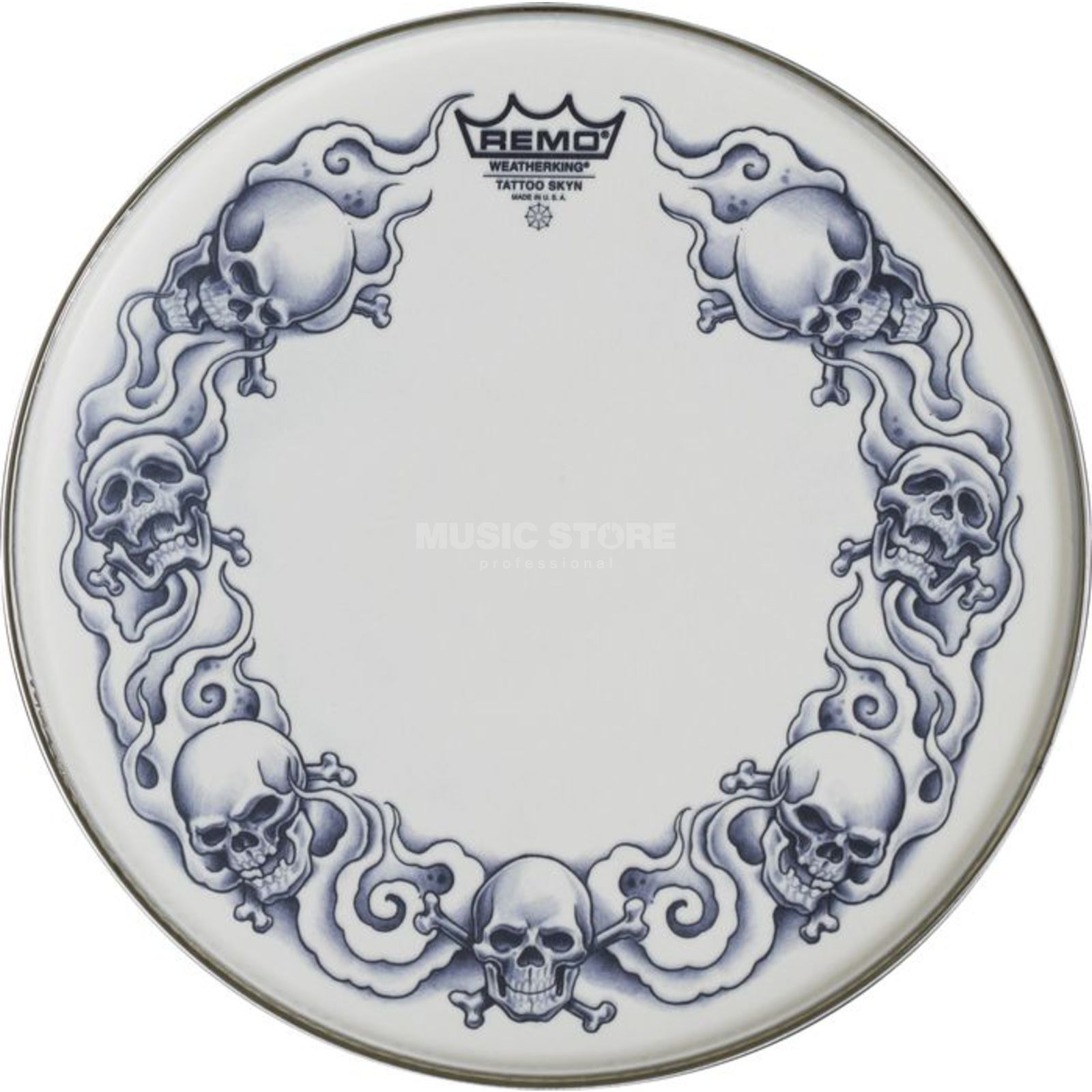 "Remo Tattoo Skyn Suede 14"", Skulls, Snare Batter Product Image"