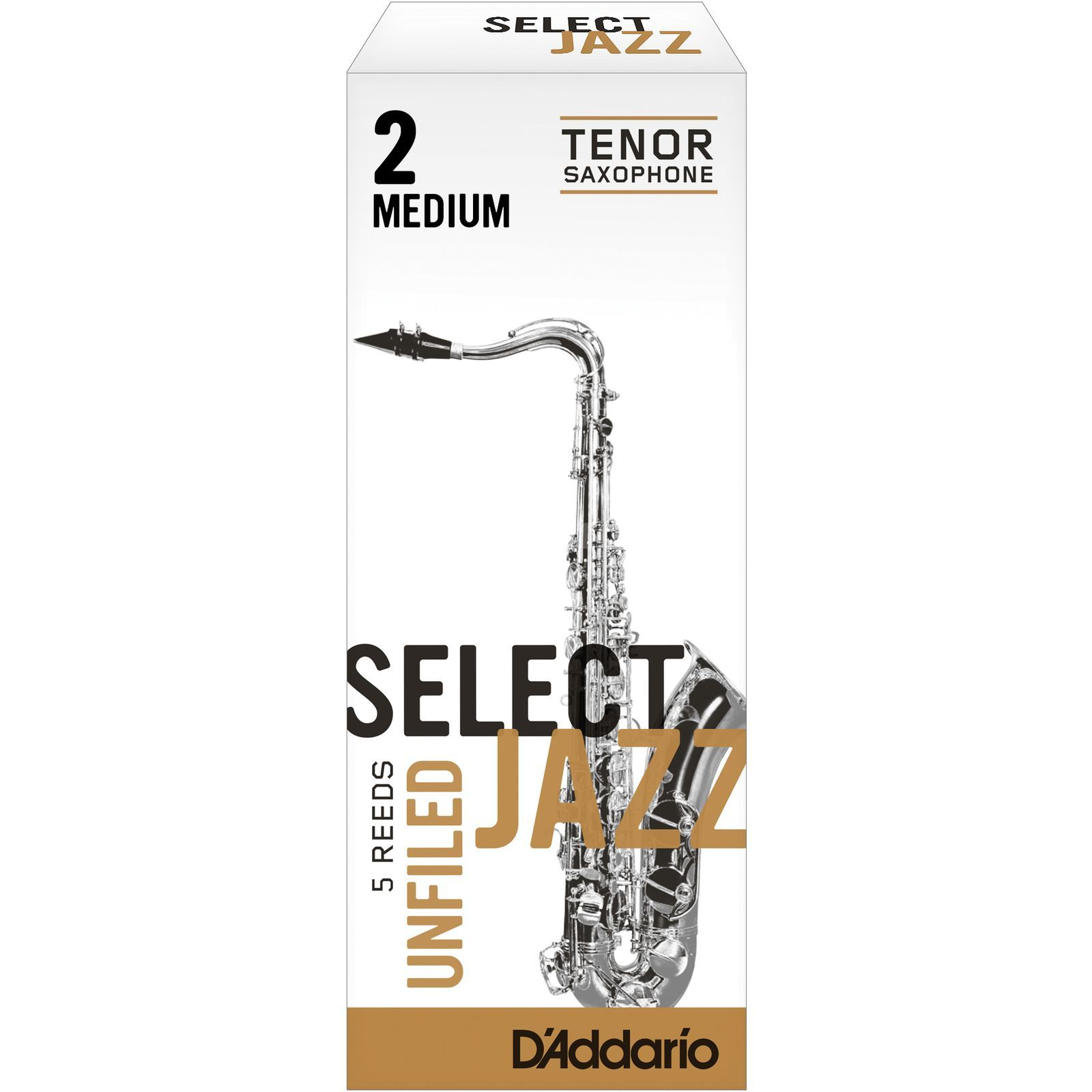 Rico Select Jazz Unfiled Tenor Sax Reeds 2M Unfiled Box of 5 Product Image