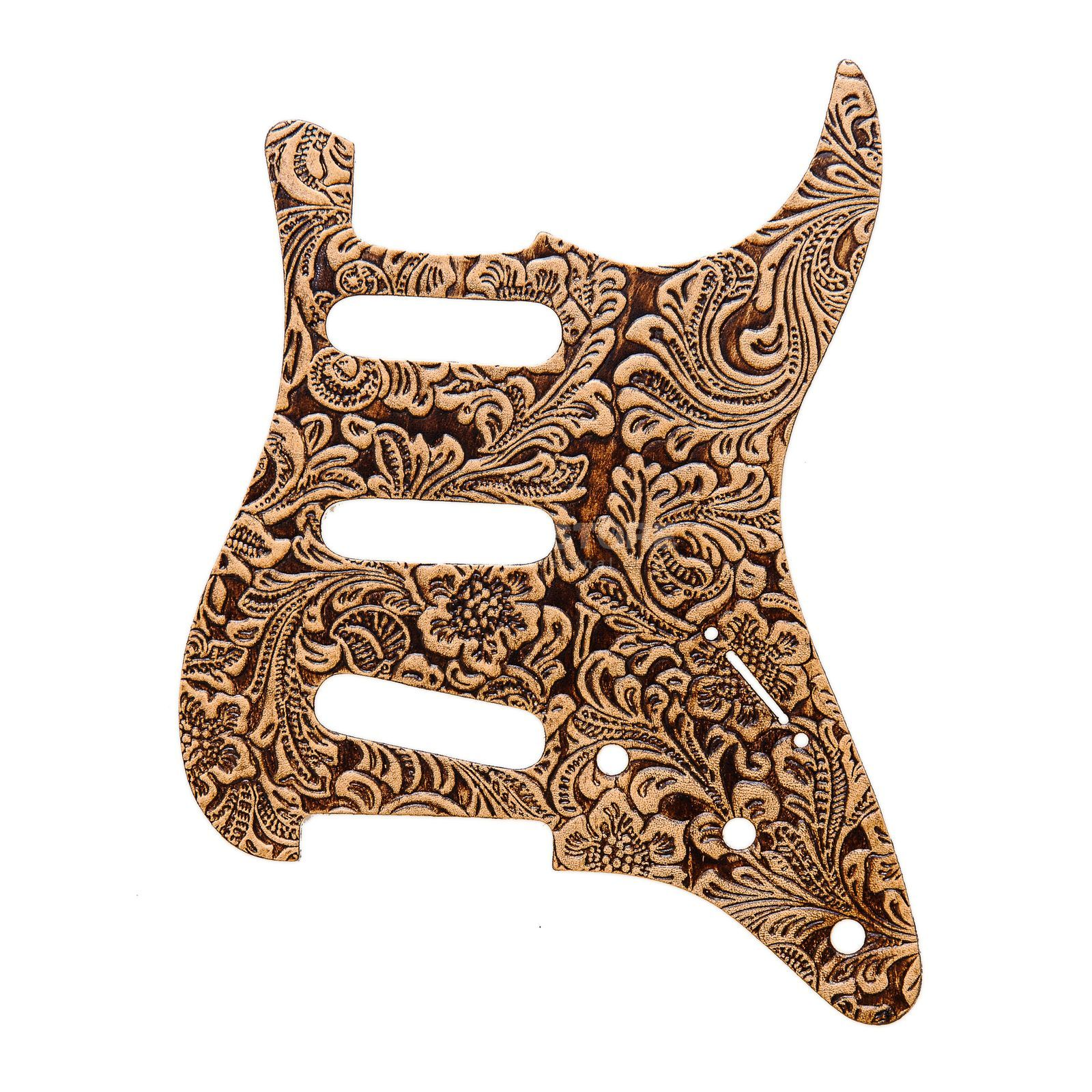 RightOn! Straps Pickguard S-Style Beige Leather Engraved Produktbillede