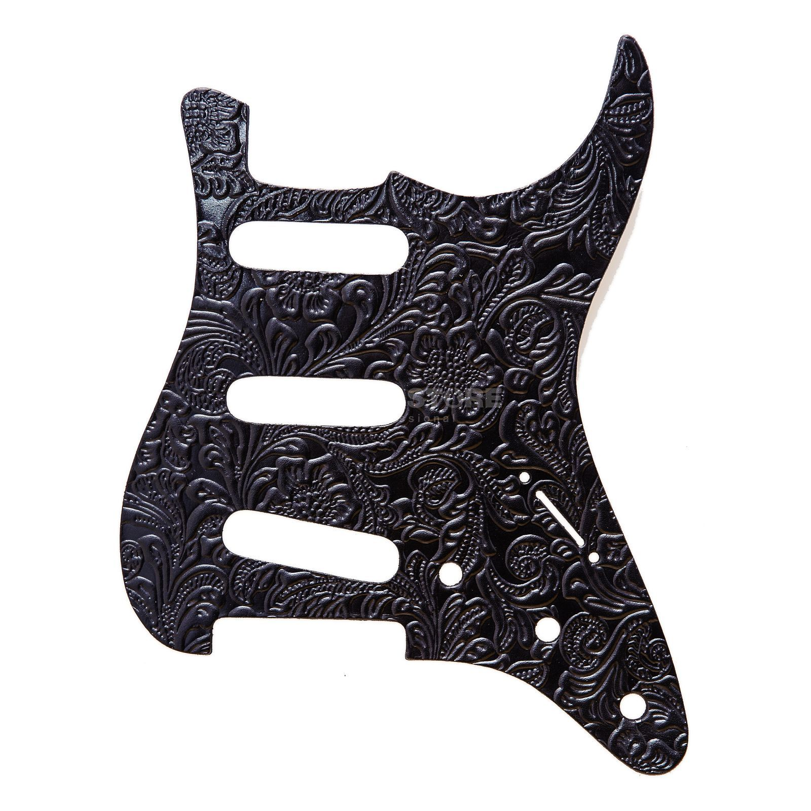 RightOn! Straps Pickguard S-Style Black Leather Engraved Produktbild