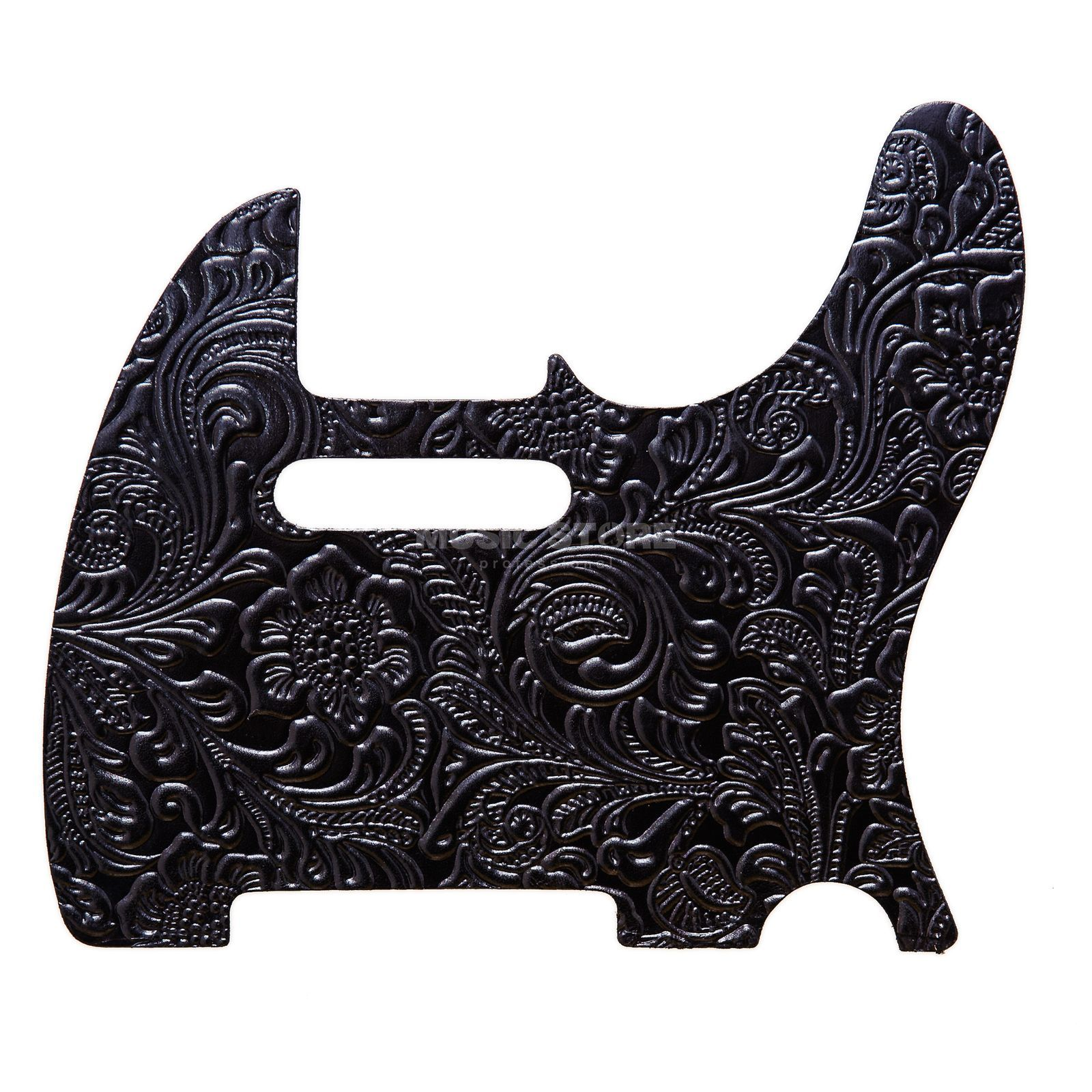 RightOn! Straps Pickguard T-Style Black Leather Engraved Produktbild