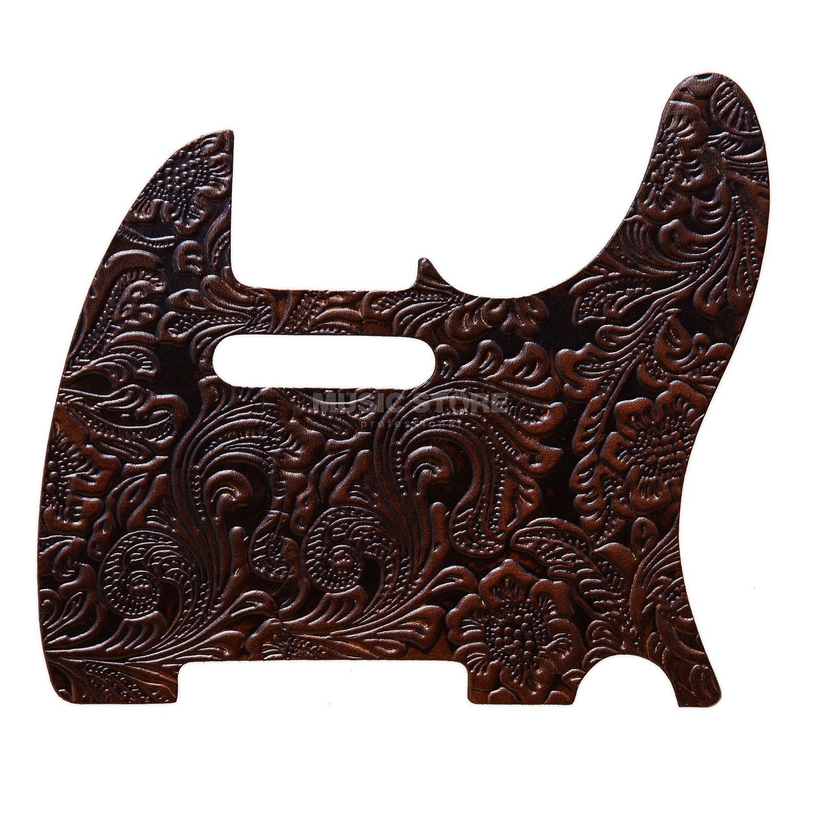 RightOn! Straps Pickguard T-Style Brown Leather Engraved Produktbild