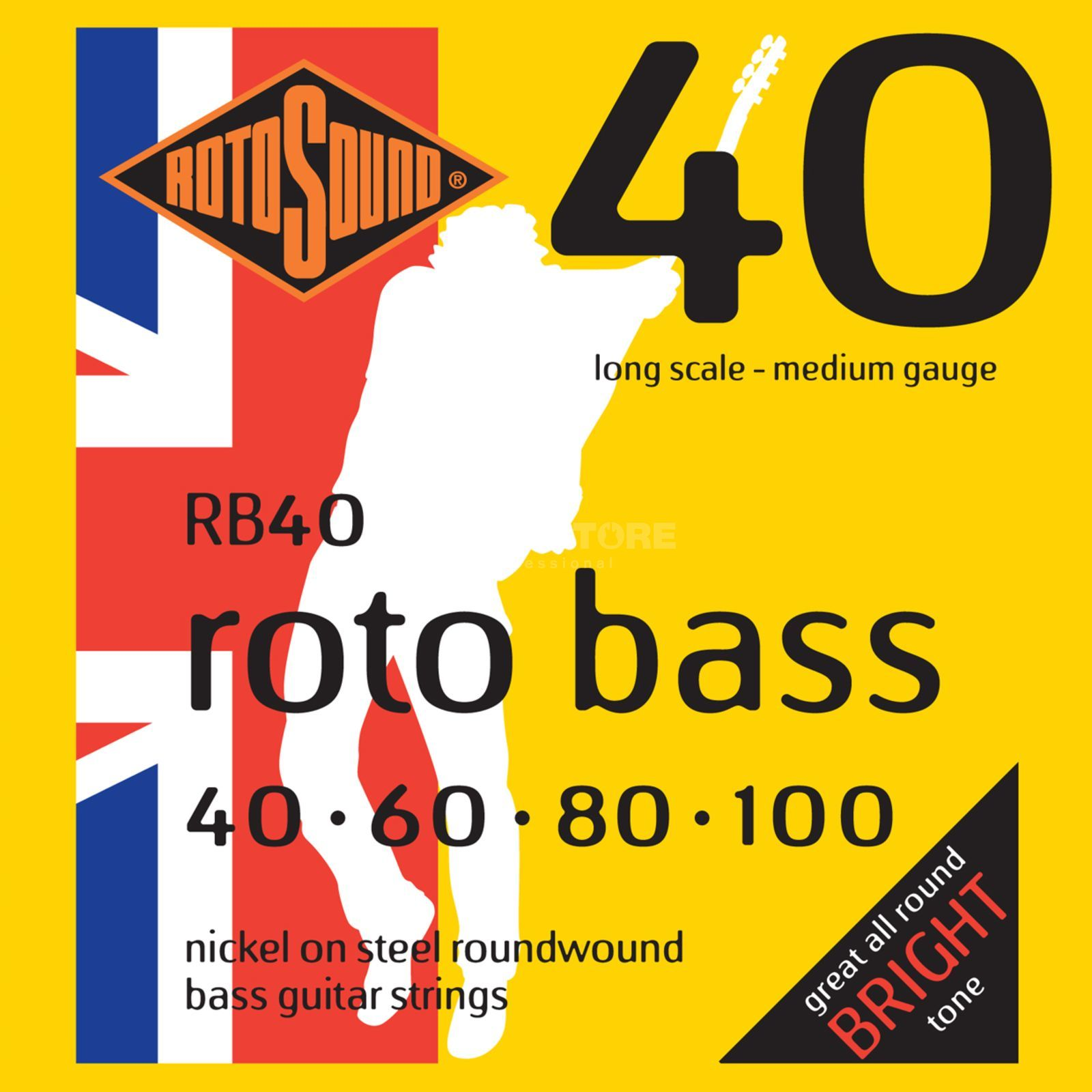Rotosound bas snaren RB40, 4er 40-100 roto bas, nikkel on Steel Productafbeelding