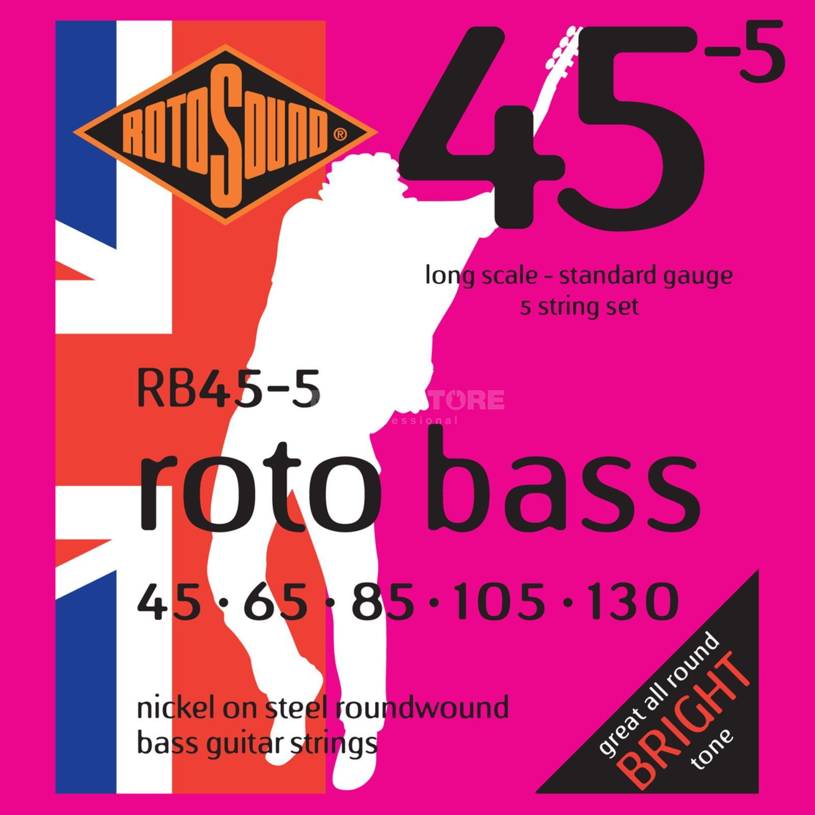 Rotosound bas snaren RB455 5er 45-130 roto bas, nikkel on Steel Productafbeelding