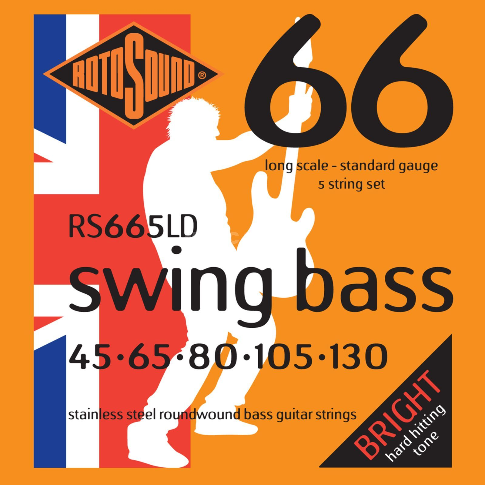 Rotosound bas snaren RS665LD 5er 45-130 Swing bas 66, Stainless Steel Productafbeelding