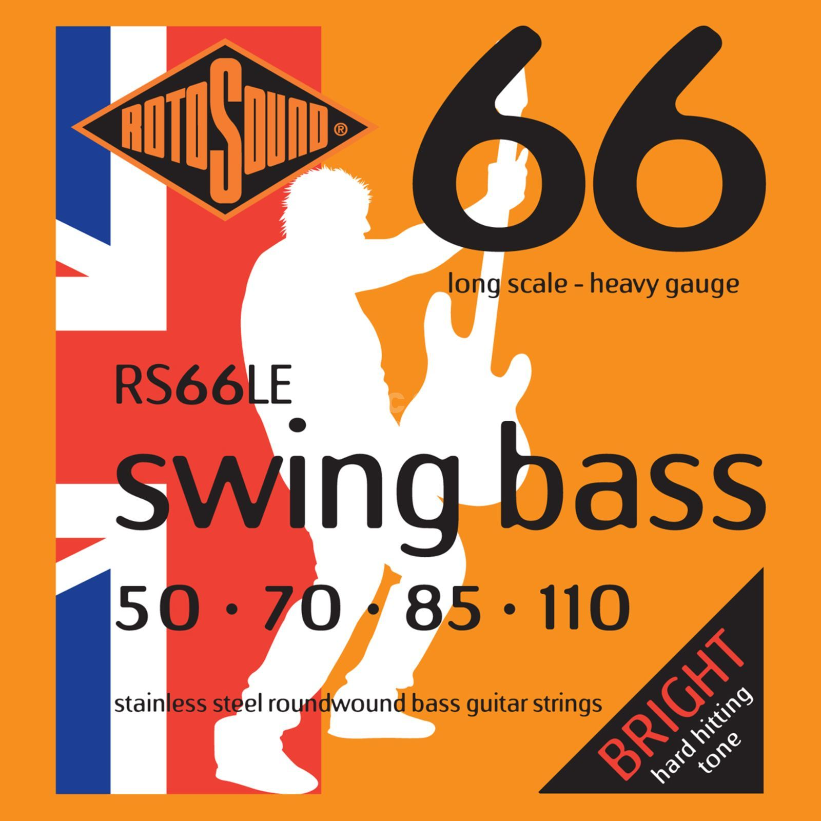 Rotosound Bass Saiten RS66LE, 4er 50-110 Swing Bass 66, Stainless Steel Produktbild