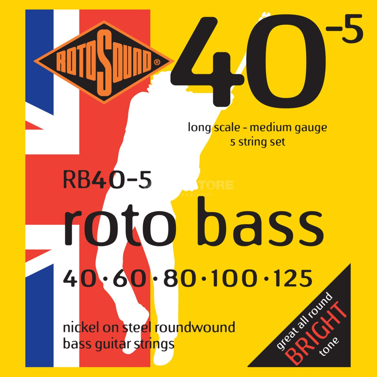 Rotosound Bass Strings RB405 5 Set 40-125 redo Bass, Nickel on Steel Immagine prodotto
