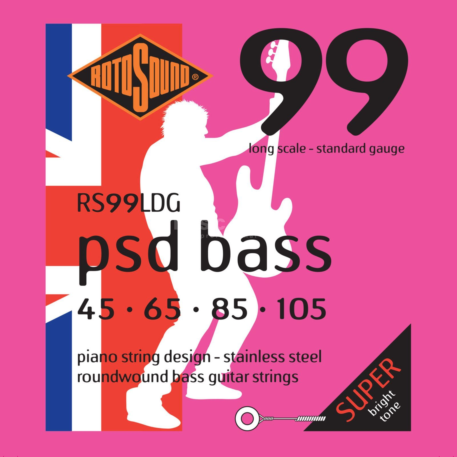 Rotosound Bass Strings RS99LDG 45-105 PSD Bass 99, Stainless Steel Product Image