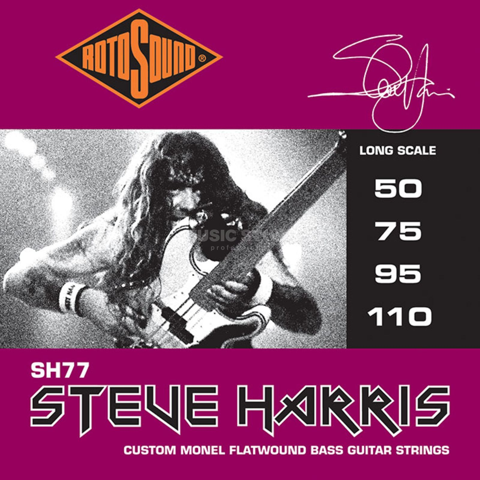 Rotosound Bass Strings SH77, 50-110, Flat Steve Harris, Monel Flatwound Produktbillede
