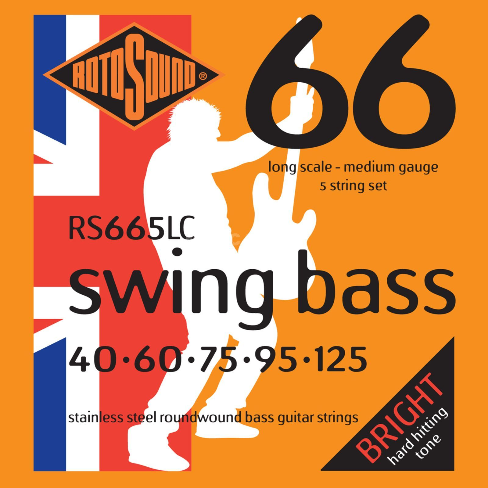 Rotosound Cuerdas para bajo RS665LC 5er 40-125 Swing Bass 66, Stainless Steel Imagen del producto