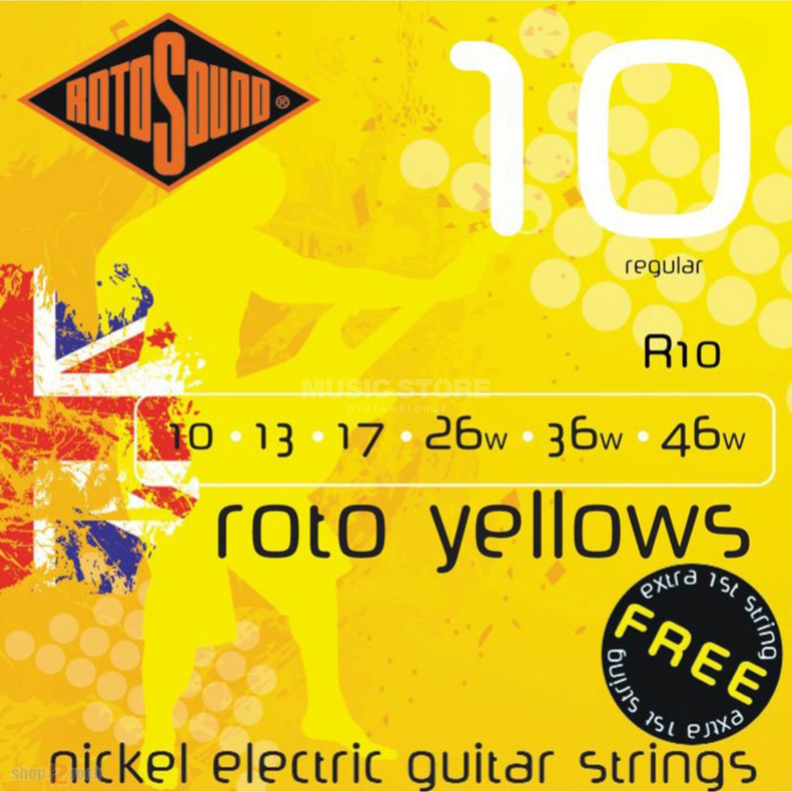 Rotosound Roto Yellows R10 10-46 Nickel Regular  e1 doppelt Produktbild