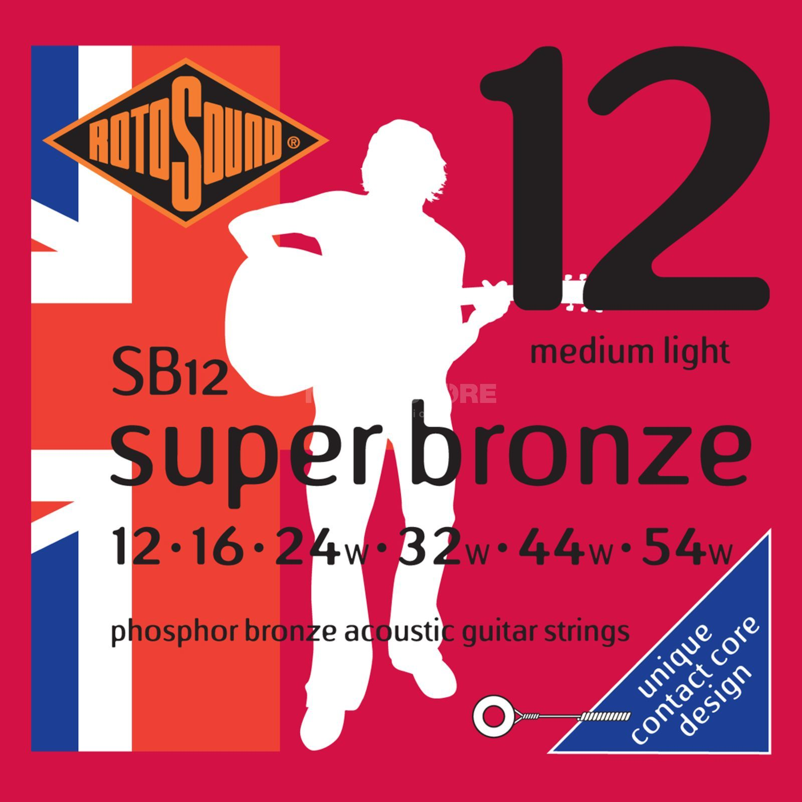 Rotosound Super Bronze SB12 12-54 Contact Core Phosphor Bronze Productafbeelding