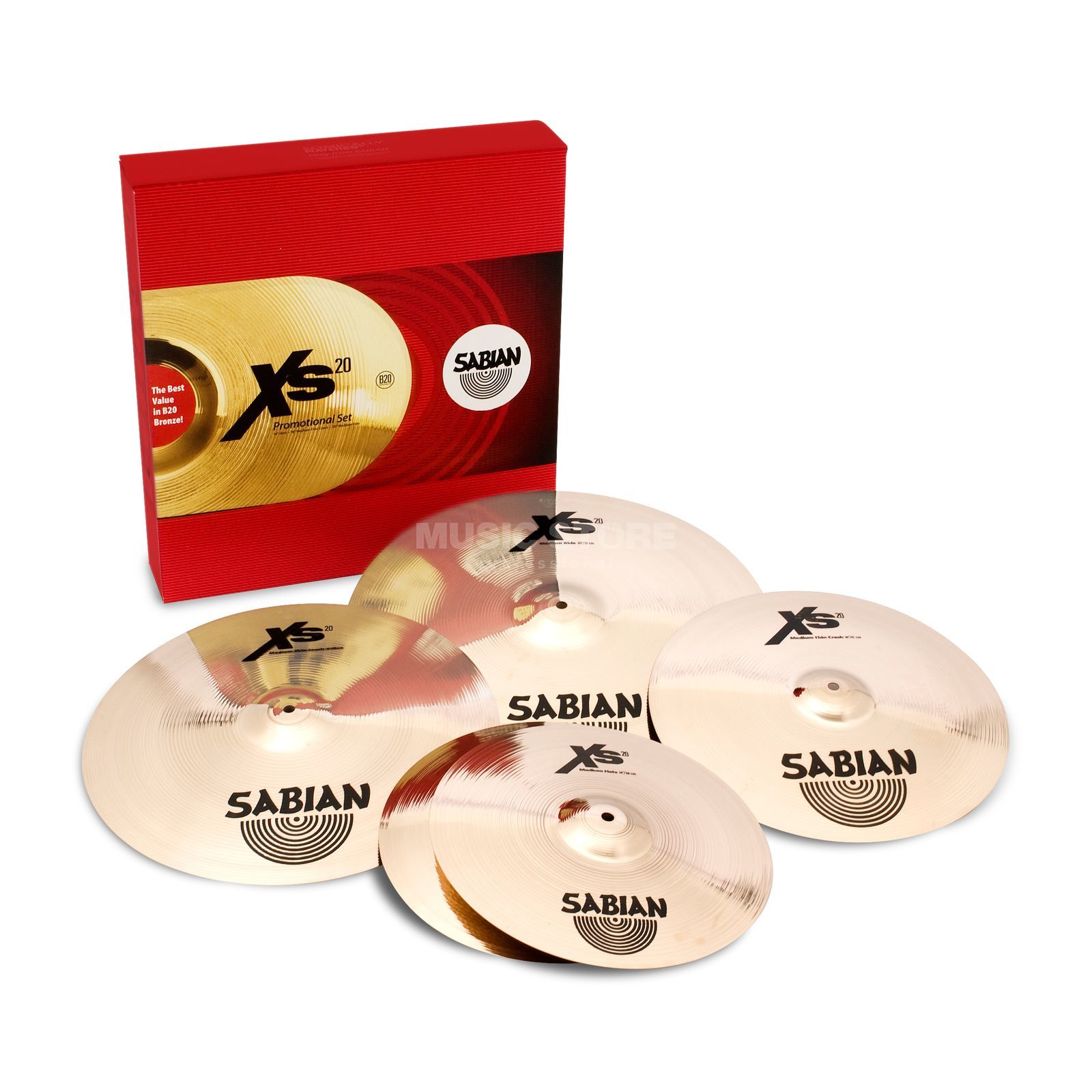 "Sabian XS20 Promotional Cymbal Set, 14""HH, 16""CR, 20""R + 18""CR Product Image"