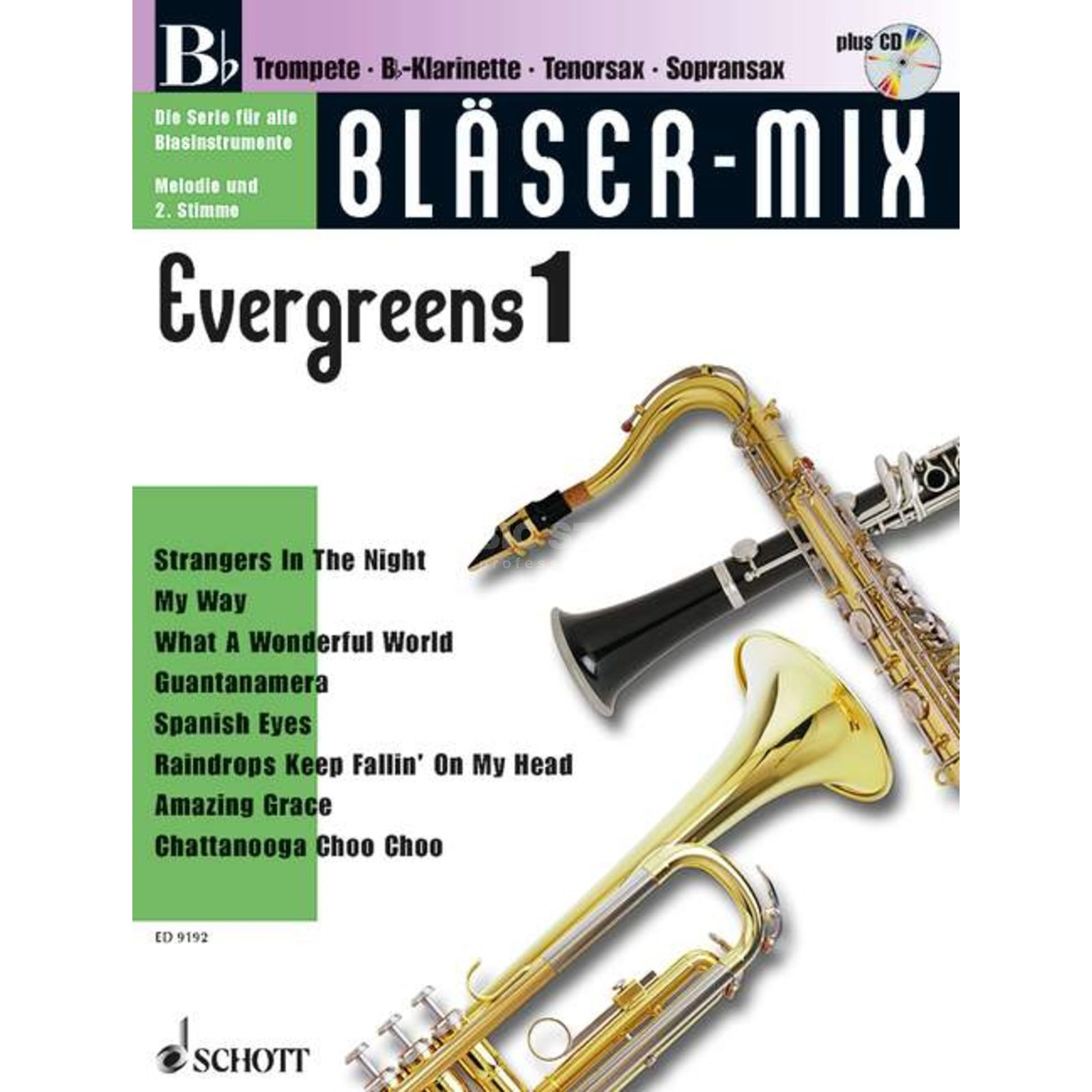 Schott Music Evergreens, Bläser-Mix Play-along Bb-Instrumente Produktbild
