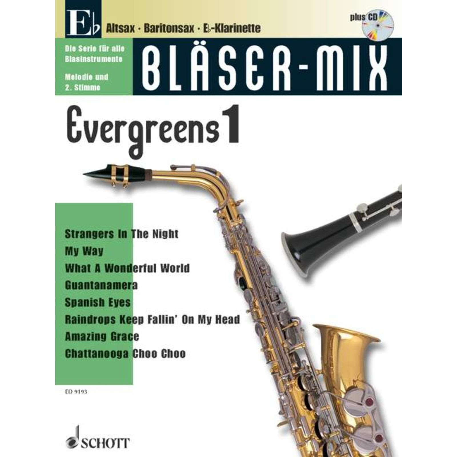 Schott Music Evergreens, Bläser-Mix Play-along Eb-Instrumente Produktbild
