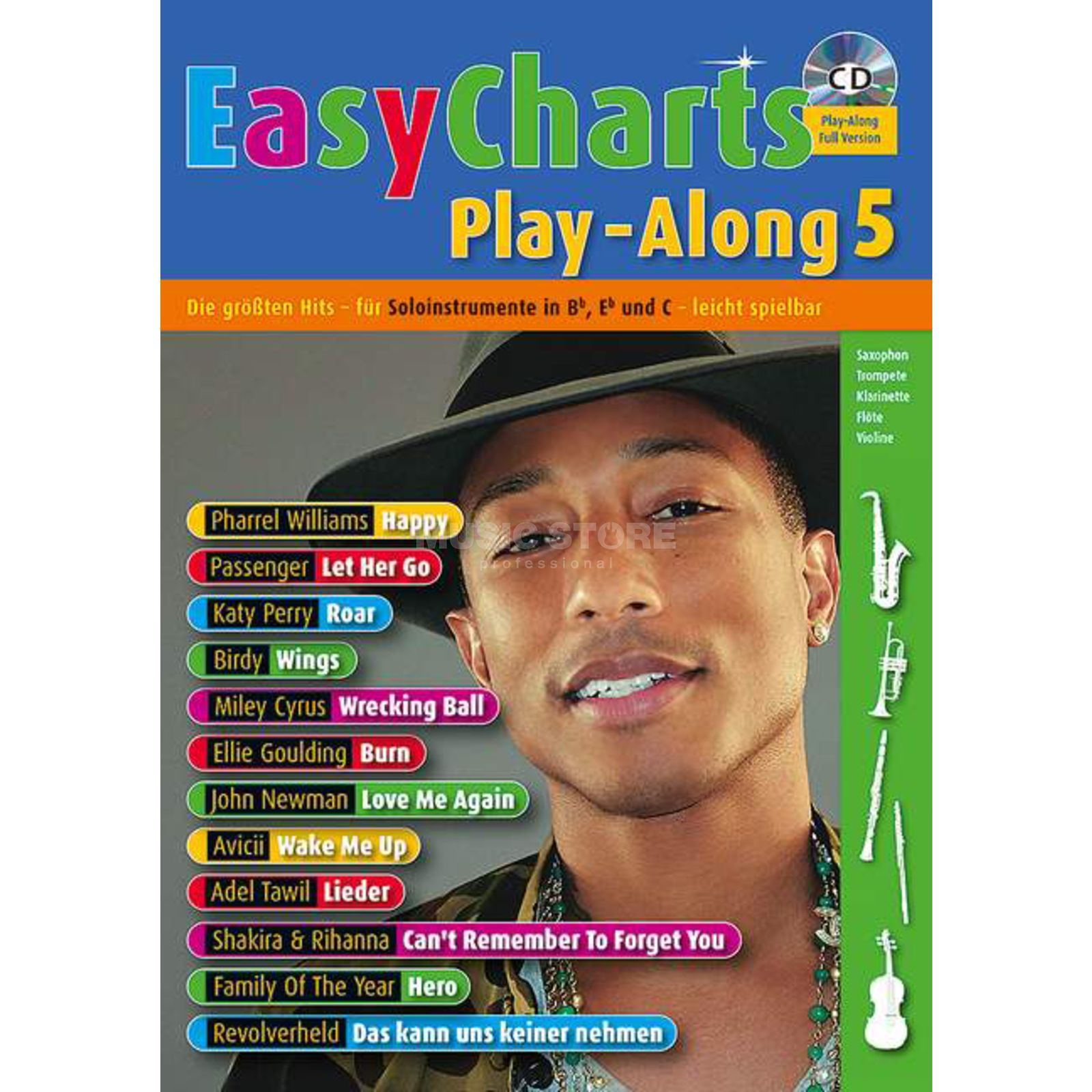 Schott-Verlag Easy Charts 5 Play-Along U.Bye, C/Eb/Bb-Instrument, CD Produktbillede