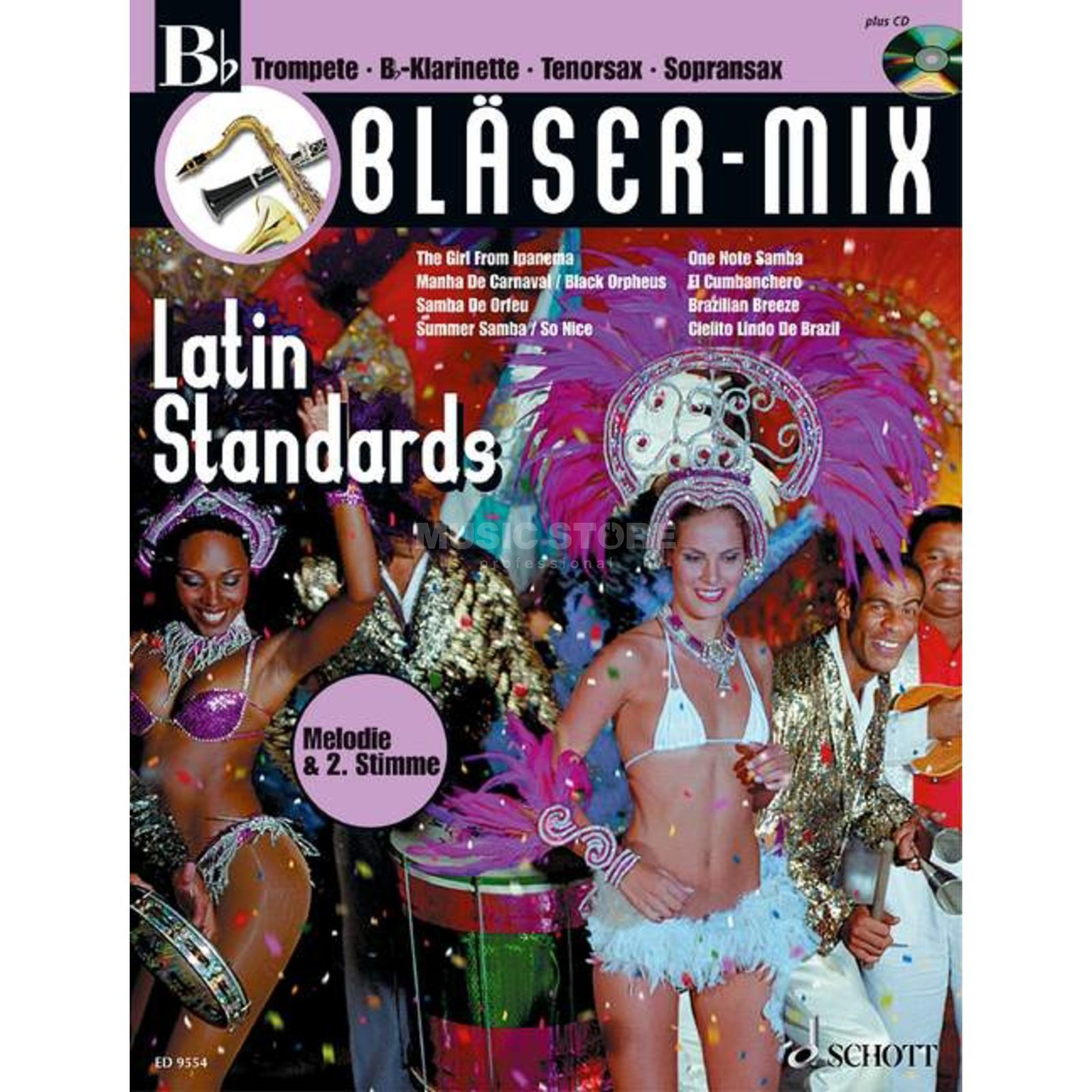 Schott-Verlag Latin-Standards, Bläser-Mix Play-along Bb-Instrumente Produktbillede