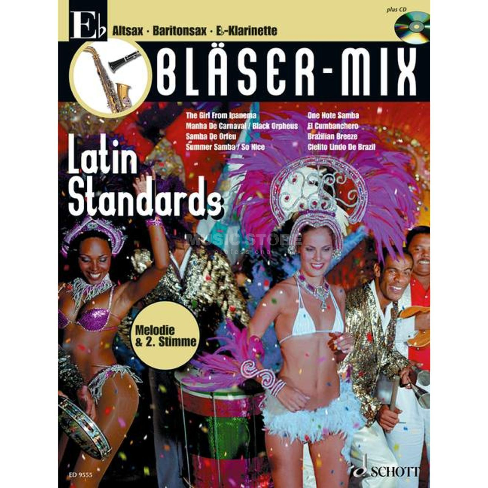 Schott-Verlag Latin-Standards, Bläser-Mix Play-along Eb-Instrumente Produktbild