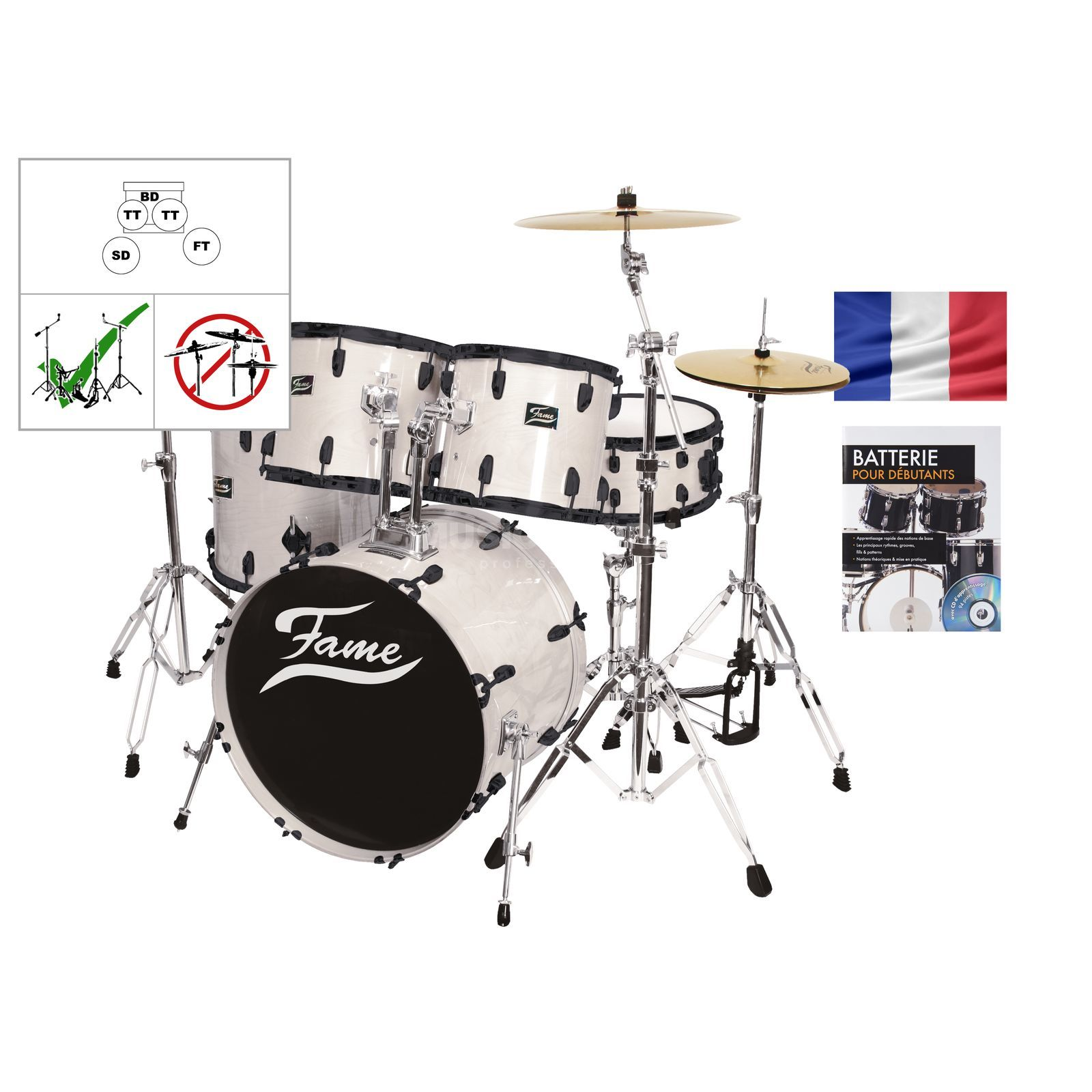 SET Batterie acoustique FAME 5201, blanc + partitions Produktbild