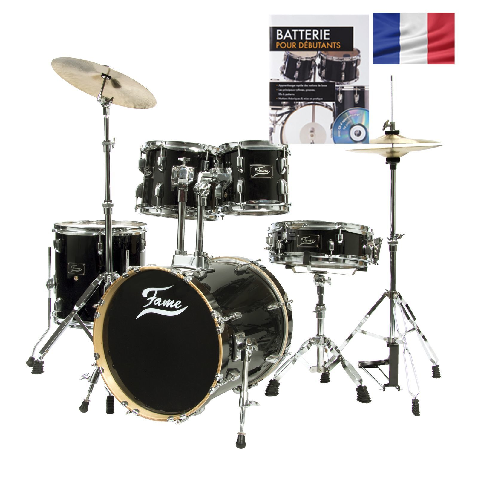 SET Batterie acoustique FAME Jungle, noir + partitions Produktbild
