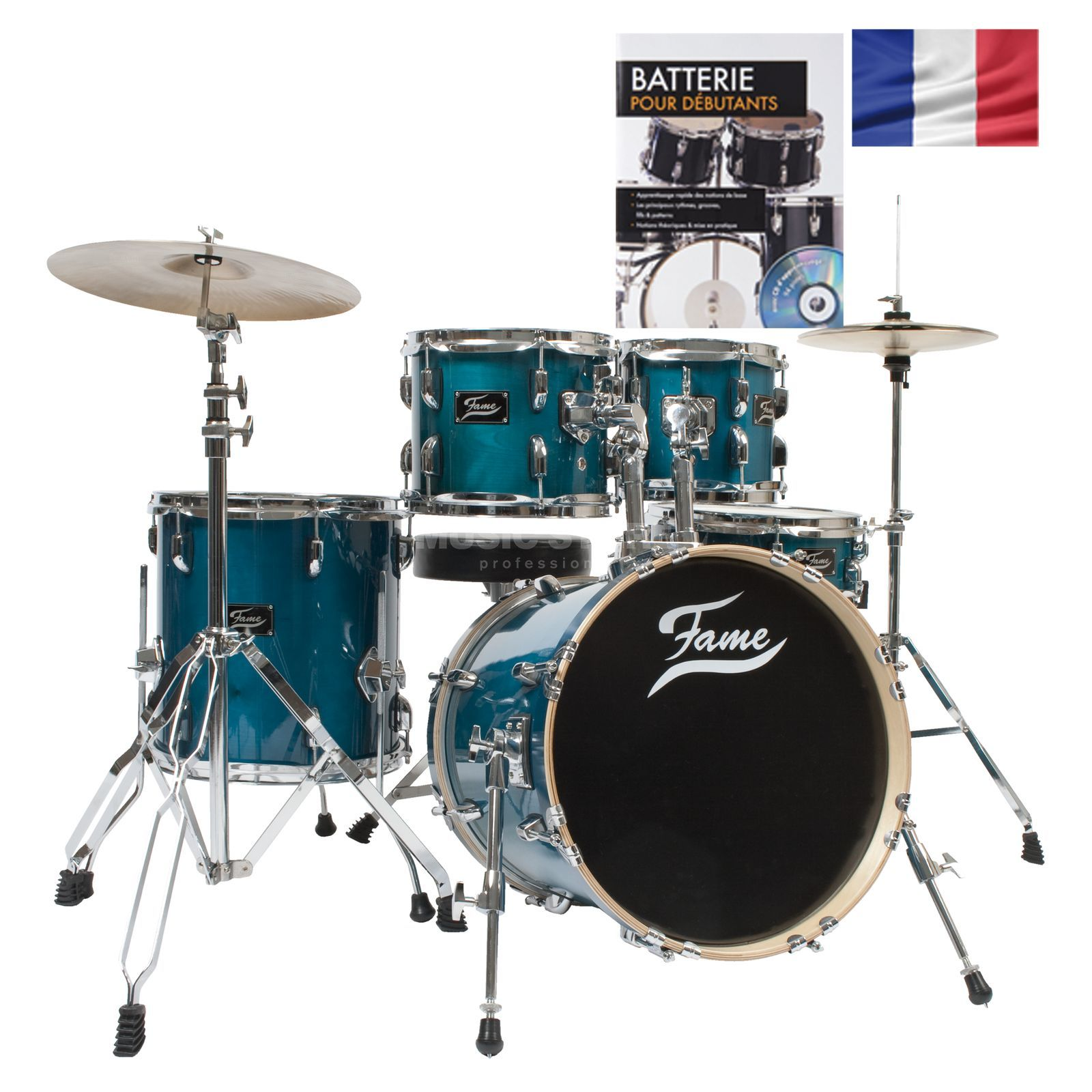 SET Batterie acoustique FAME Jungle, turquoise + partitions Produktbillede