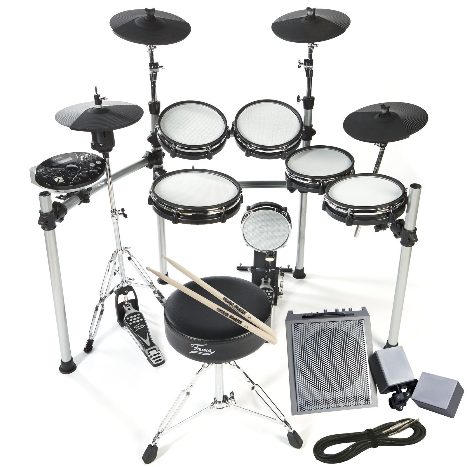 SET Fame DD-ONE inkl. Sticks, Hocker und Monitor Produktbild