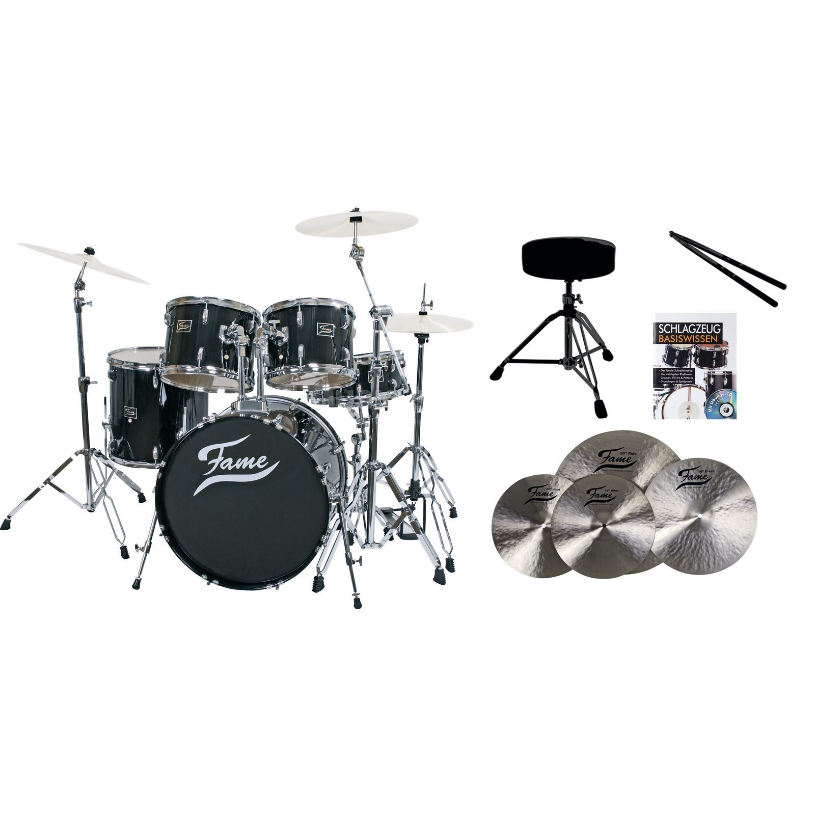 SET FAME Maple Standard Black 22, + B20 Becken, Hocker & Sticks Produktbild