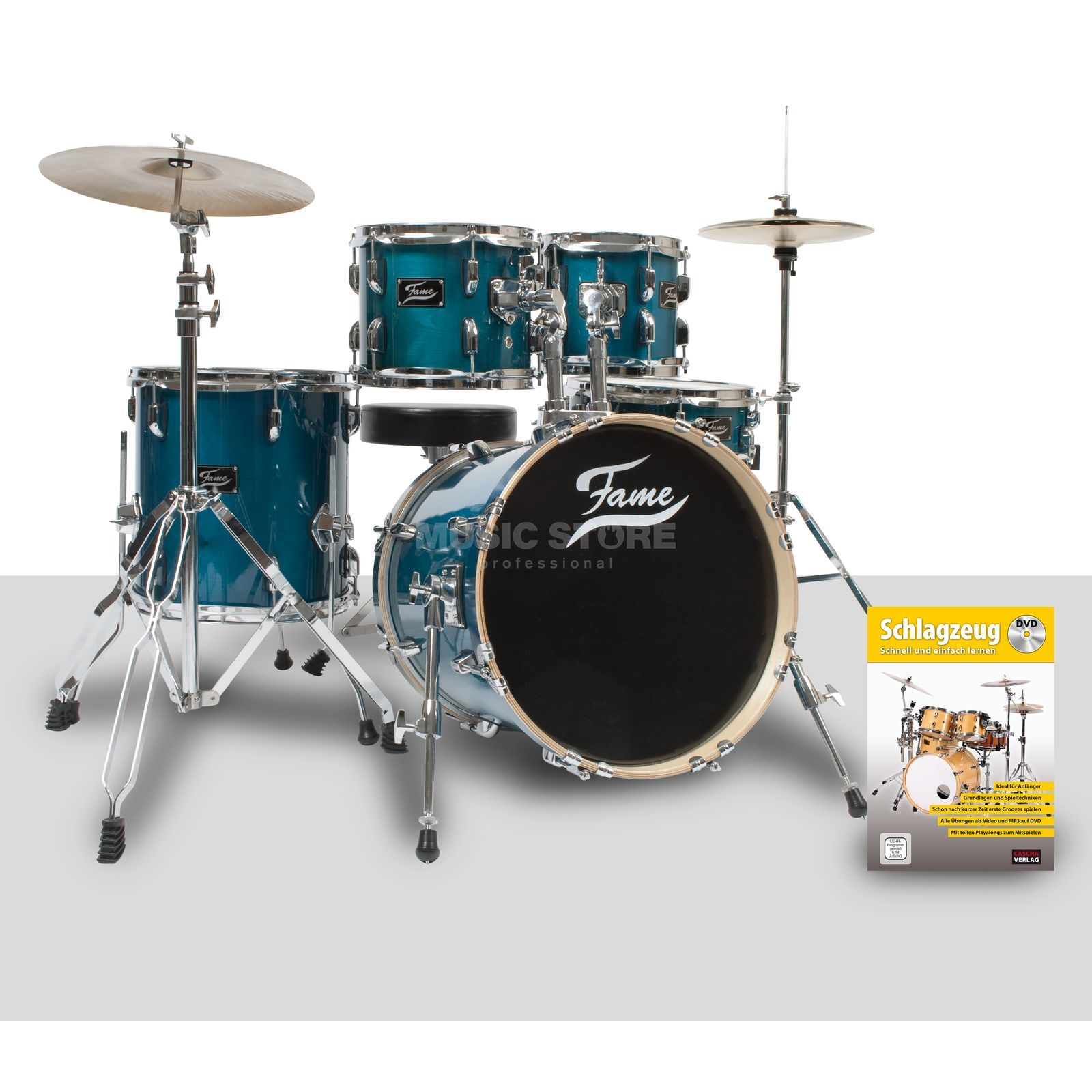 SET FAME Maple Standard Jungle türkis, inkl. Notenschule Produktbillede
