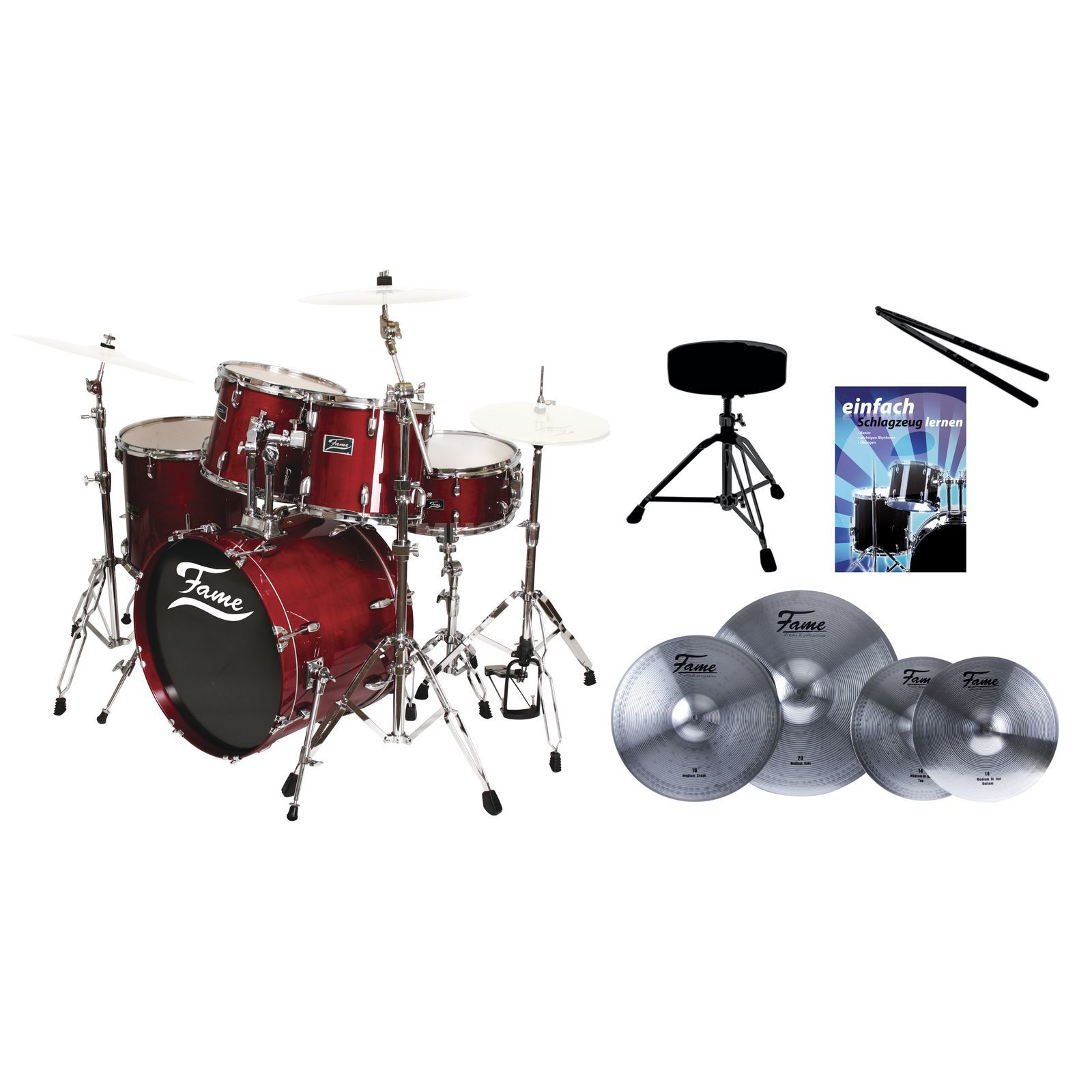 SET FAME Maple Standard Red 20, + Reflex Becken, Hocker & Stix Produktbillede