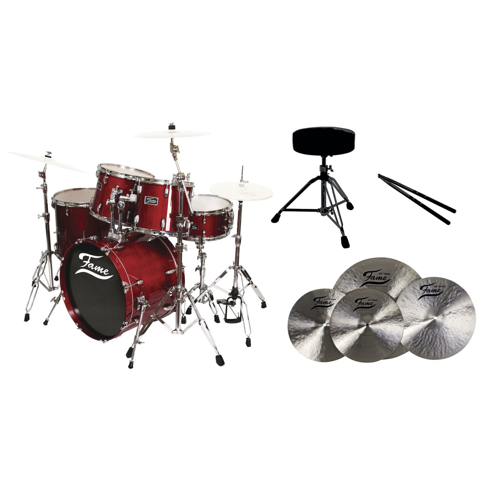 SET FAME Maple Standard Red 22, + B20 Becken, Hocker & Sticks Produktbild