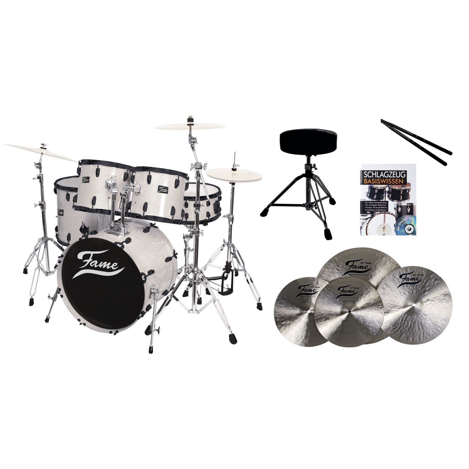 SET Fame Maple Standard White 20, + B20 Becken, Hocker & Sticks Produktbillede