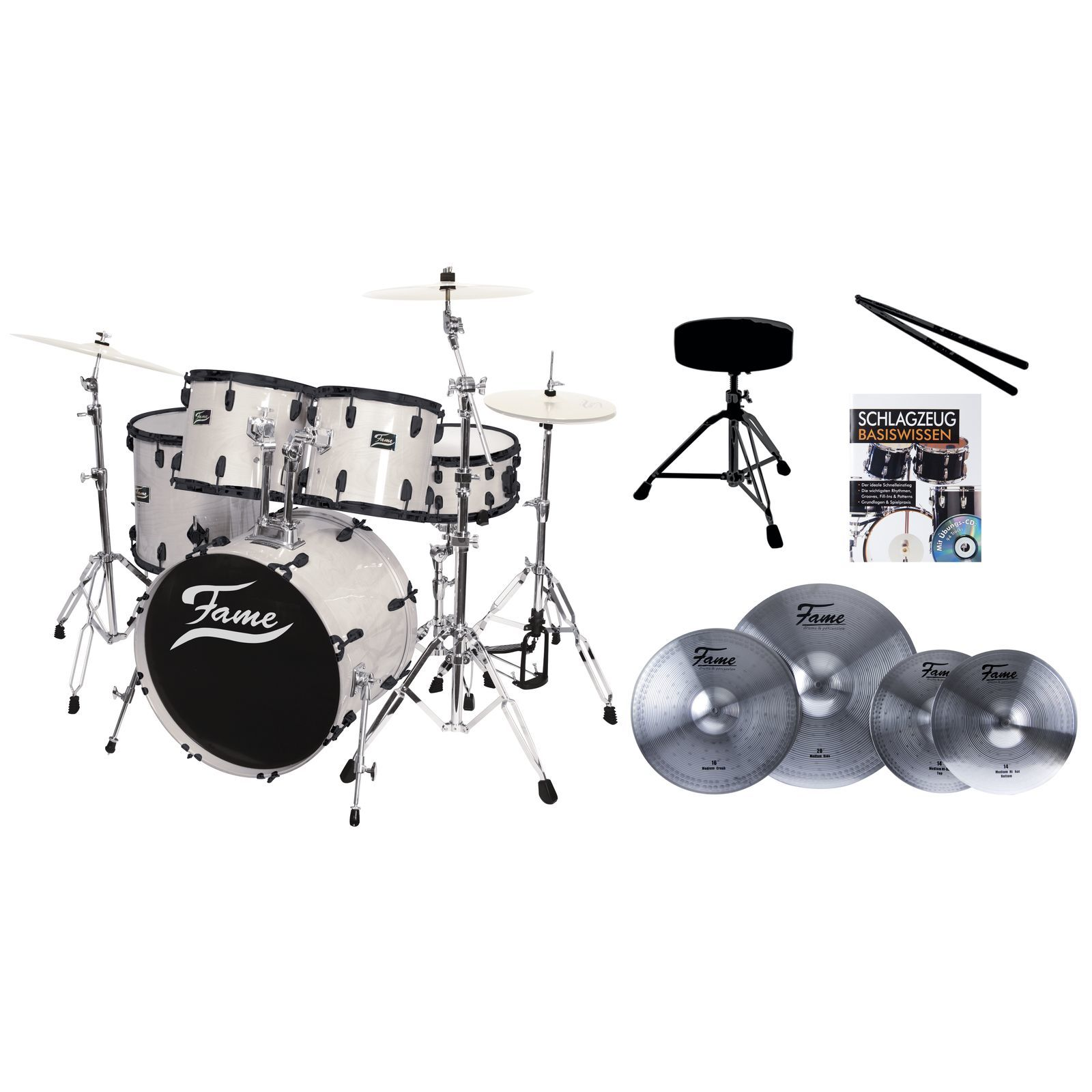 SET FAME Maple Standard White 20, + Reflex Becken, Hocker & Stix Produktbillede