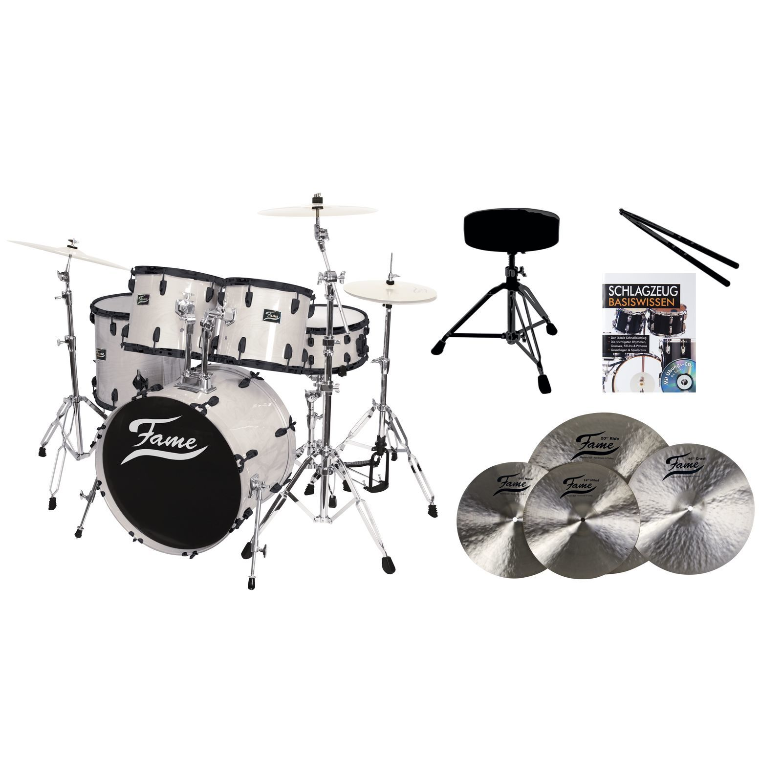 SET FAME Maple Standard White 22, + B20 Becken, Hocker & Sticks Produktbild
