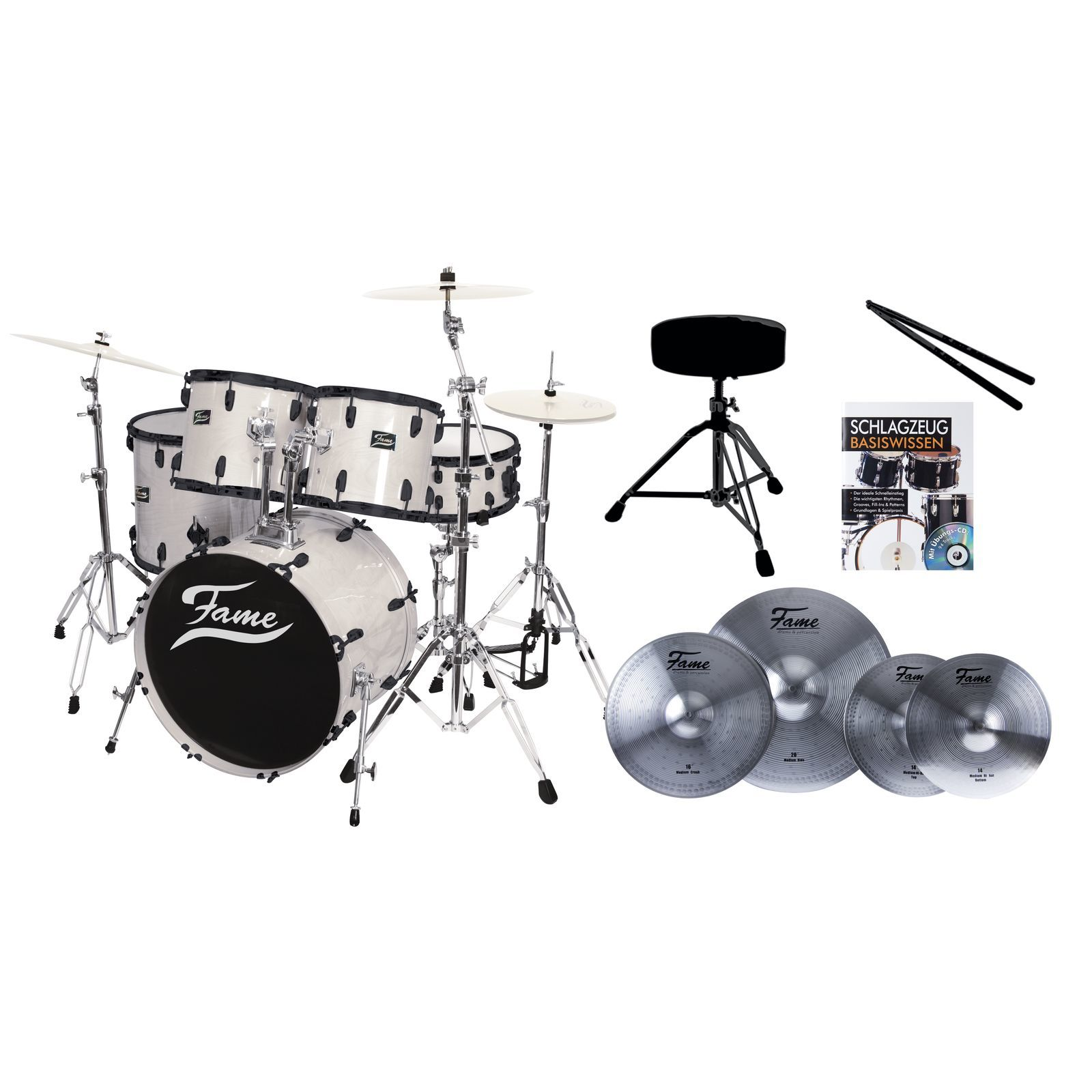 SET FAME Maple Standard White 22, + Reflex Becken,Hocker & Stix Produktbild