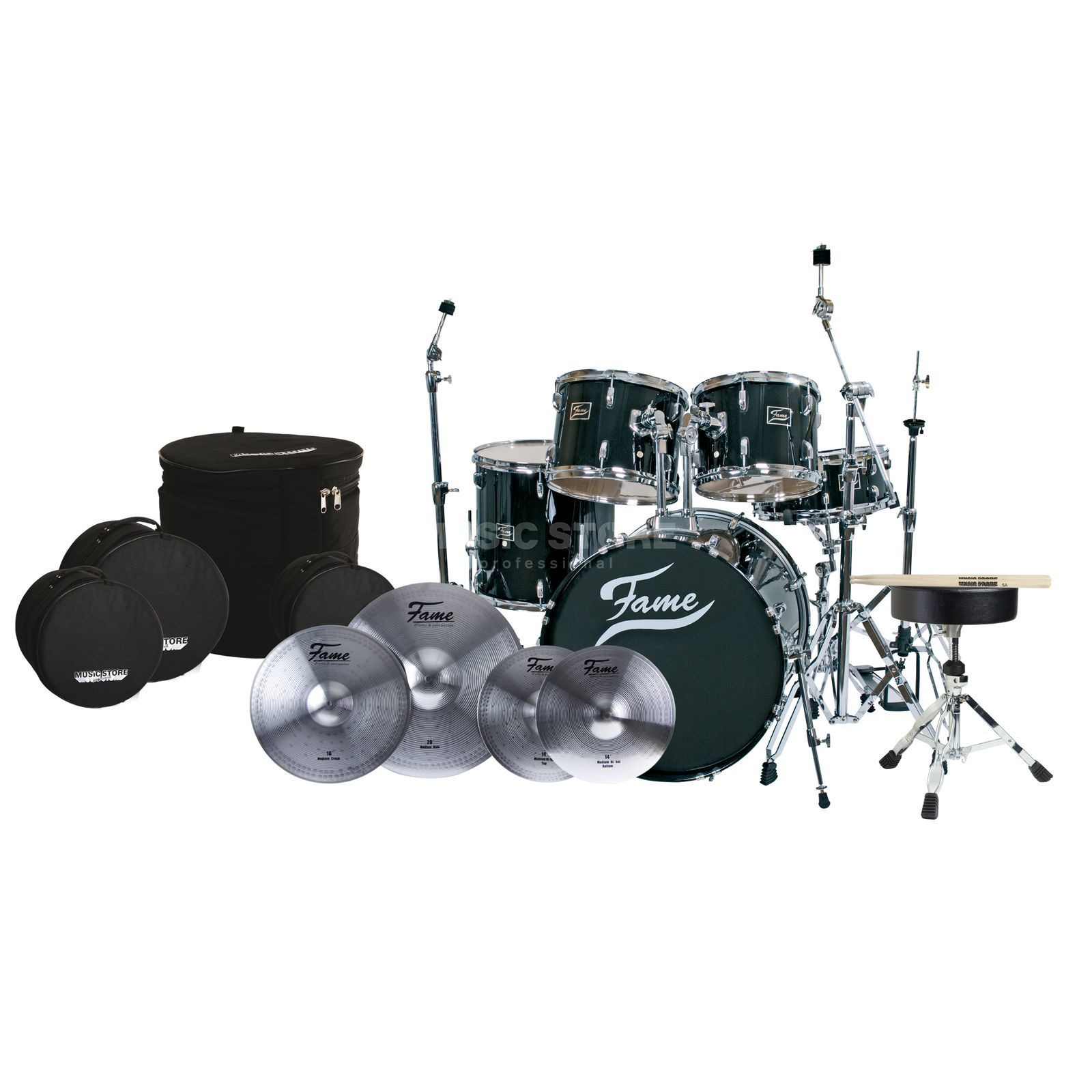 SET FAME Maple Std. Mega-Bundle inkl. Becken,HW, Bags & Sticks Produktbild