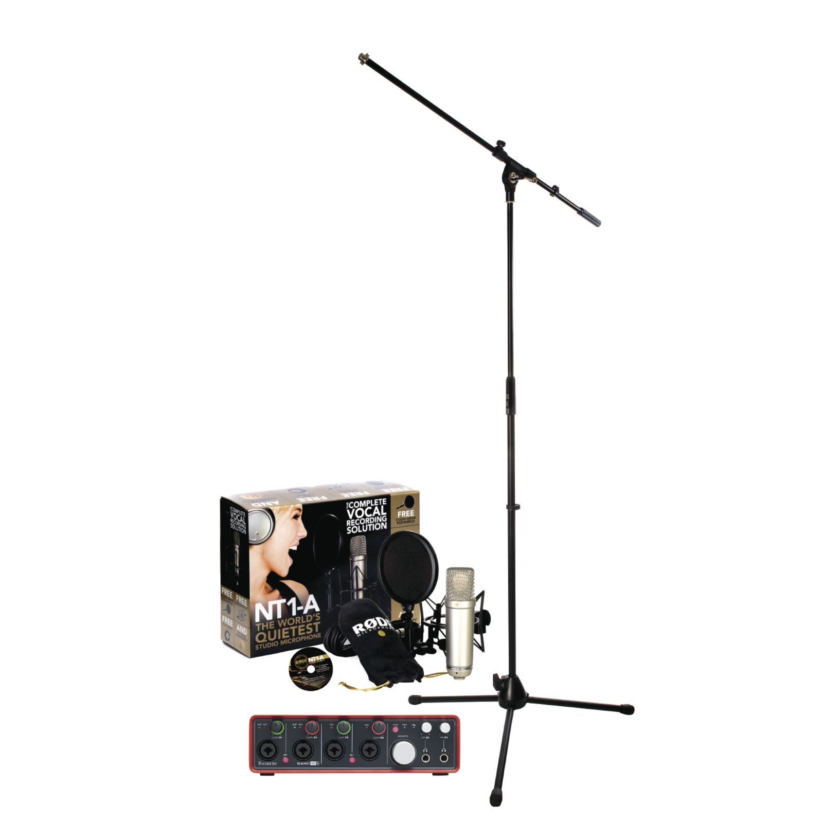 SET Focusrite Scarlett 18i8 2nd NT1-A  plus Stand Bundle Produktbillede