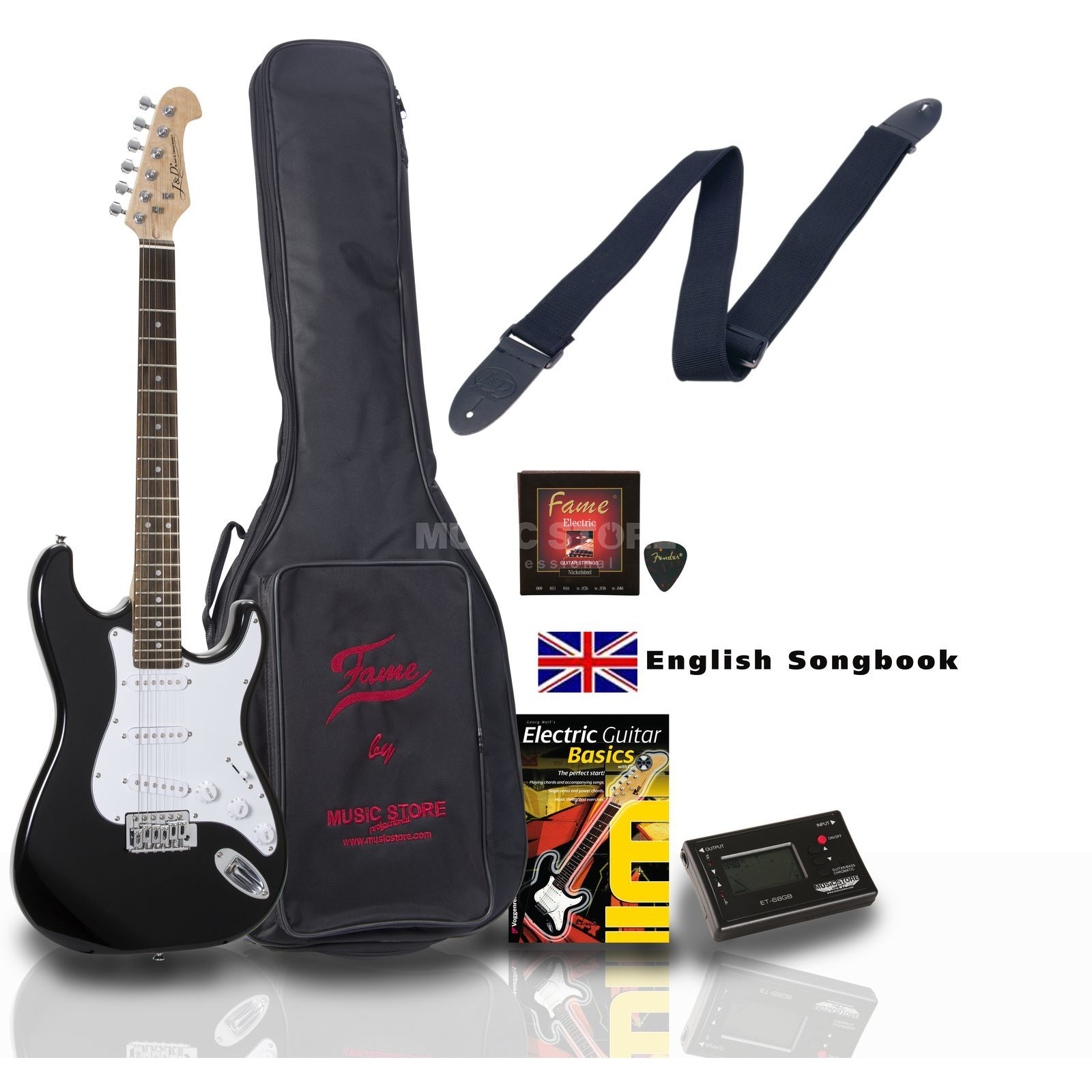 SET Jack Danny ST Rock BK ENGLISH +Bag+Strap+Tuner+Songbook etc. Produktbillede