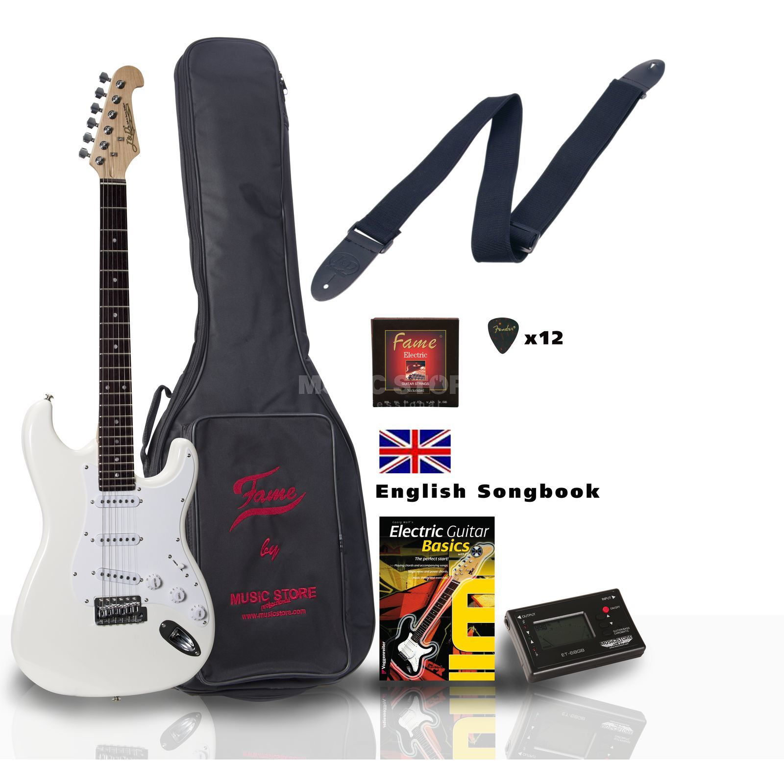SET Jack Danny ST Rock WH ENGLISH +Bag+Strap+Tuner+Songbook etc. Produktbillede