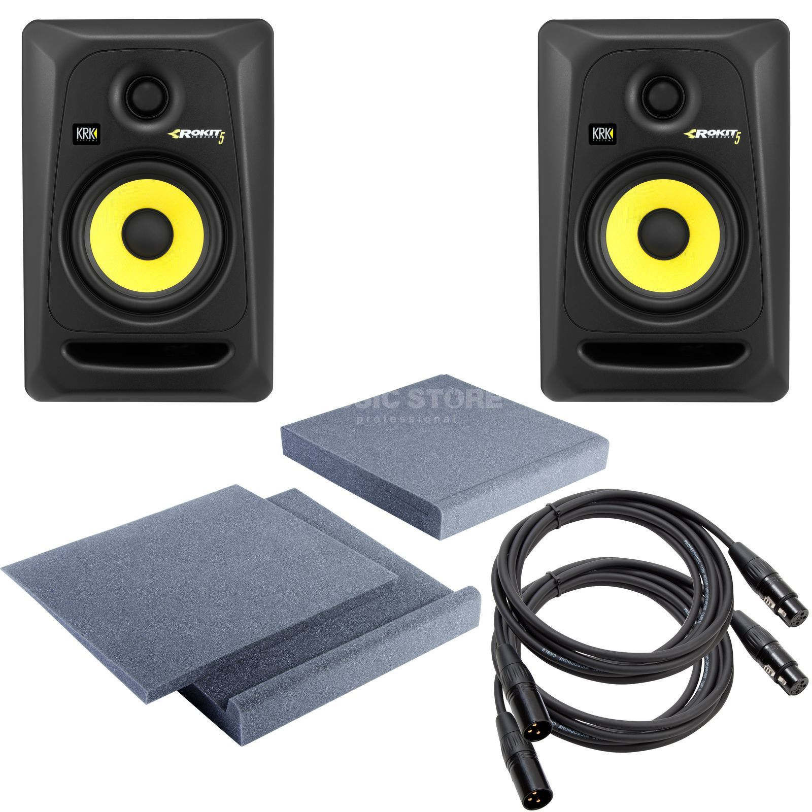 SET KRK Rokit RP5 + SpeakerPad SET inkl. 2x 3m XLR Kabel Produktbillede