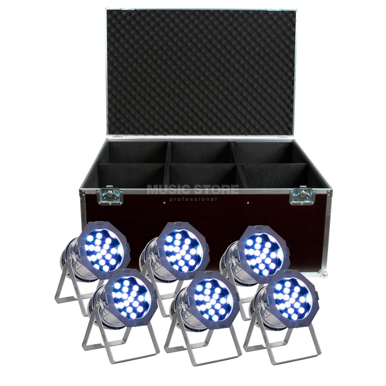 SET LightmaXX LED PAR 64 Tri-LED Polish (6x), inkl. Case Produktbillede