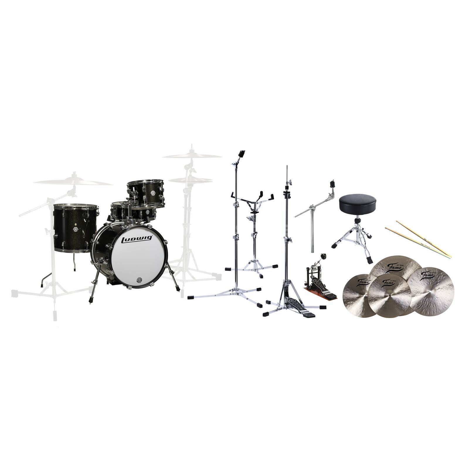 "SET Ludwig Breakbeats ""All In One"" Black Sparkle Bundle Produktbild"