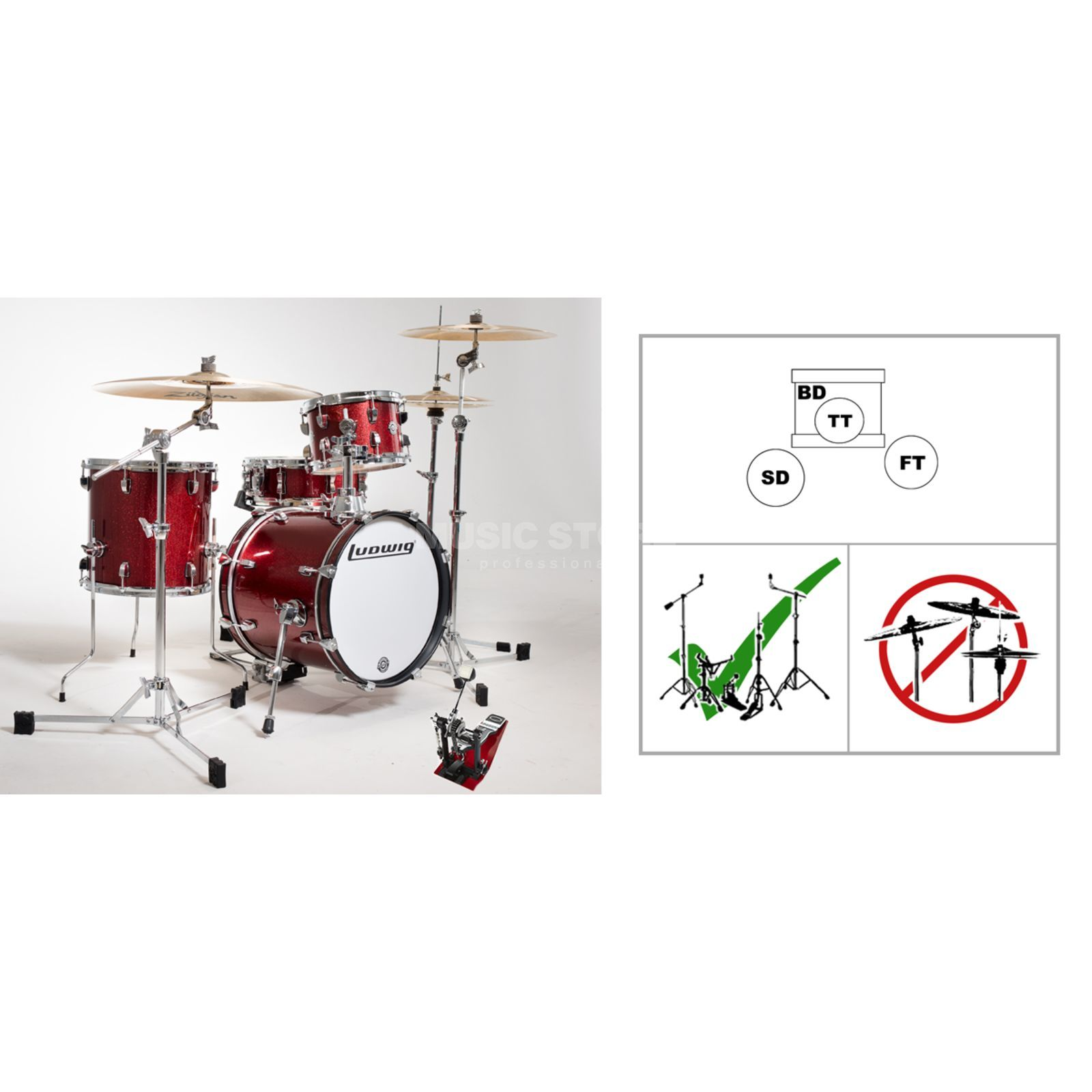 SET LUDWIG Breakbeats Red Sparkle inkl. Flat Base Hardware Produktbillede