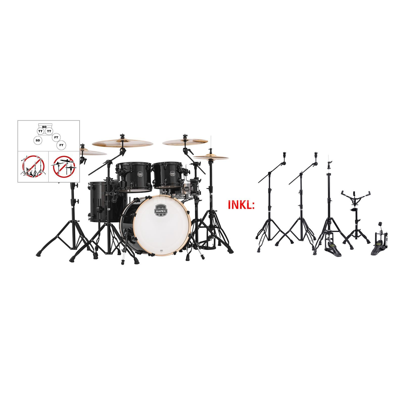 SET MAPEX Armory 504S Bundle, #BTB + Black Hardware Set Produktbild