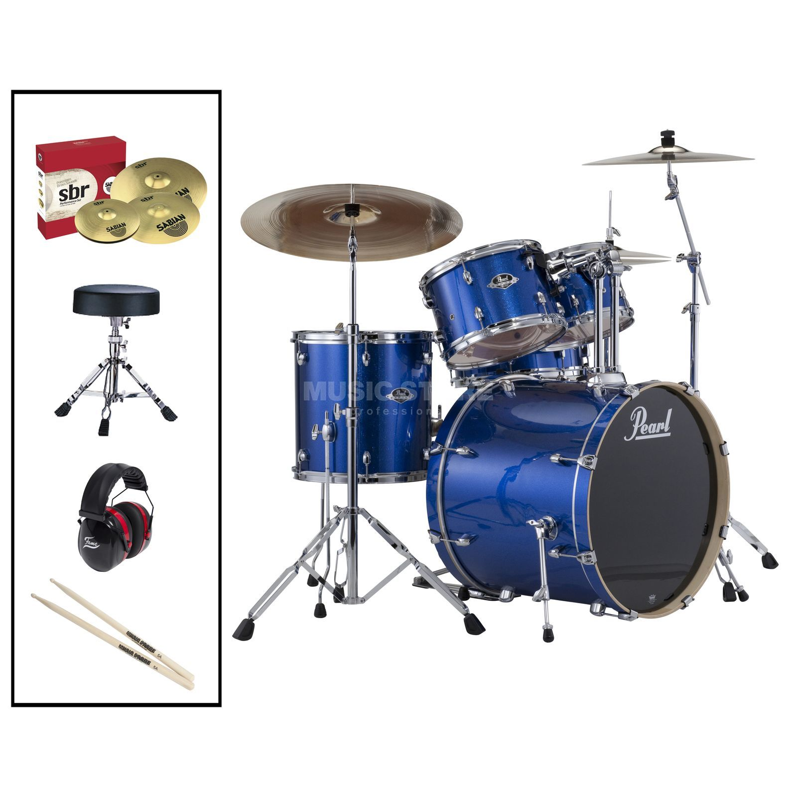 SET Pearl Export 725SZ/C-702 inkl. Hocker, Gehörschutz & Sticks Produktbillede